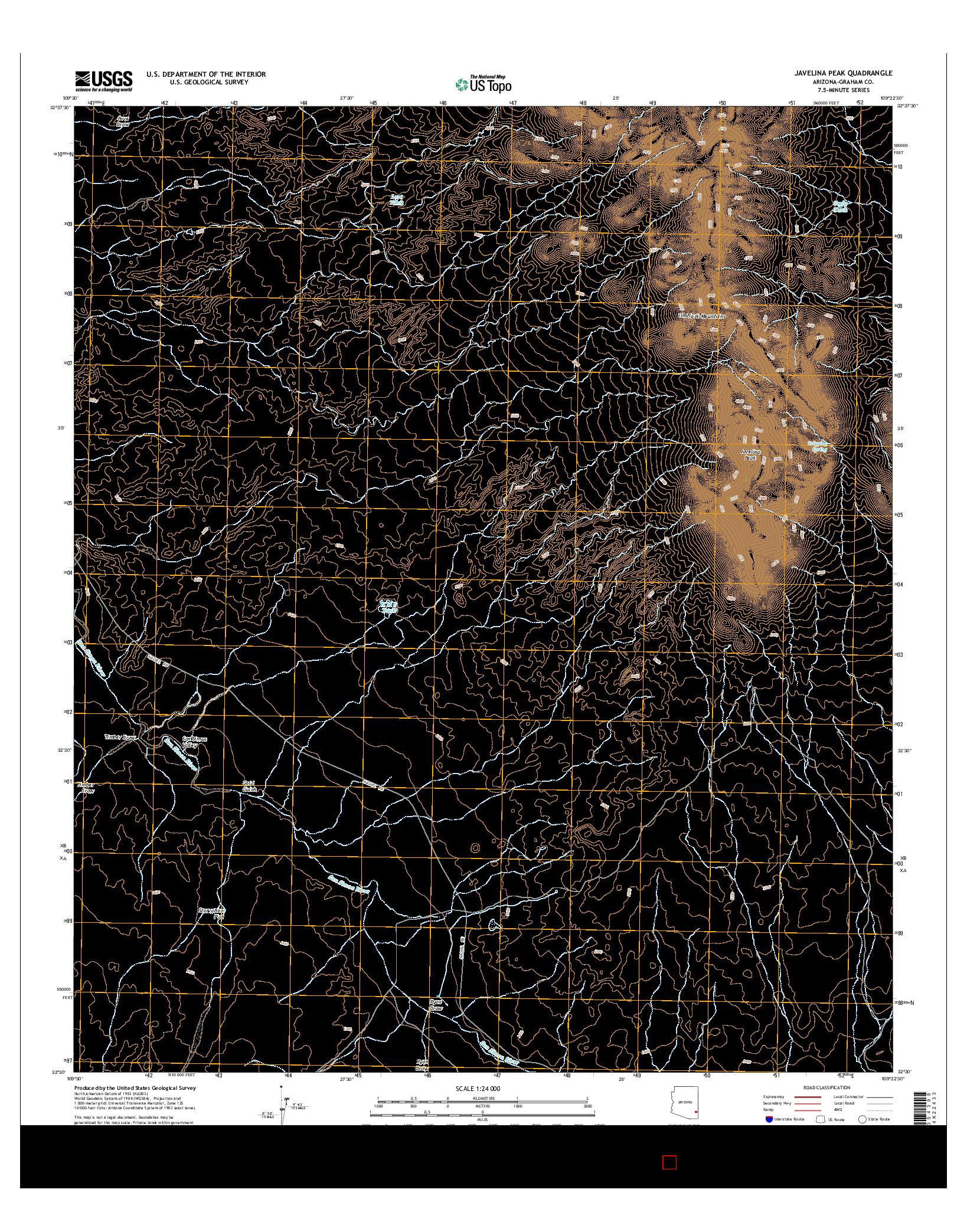 USGS US TOPO 7.5-MINUTE MAP FOR JAVELINA PEAK, AZ 2014