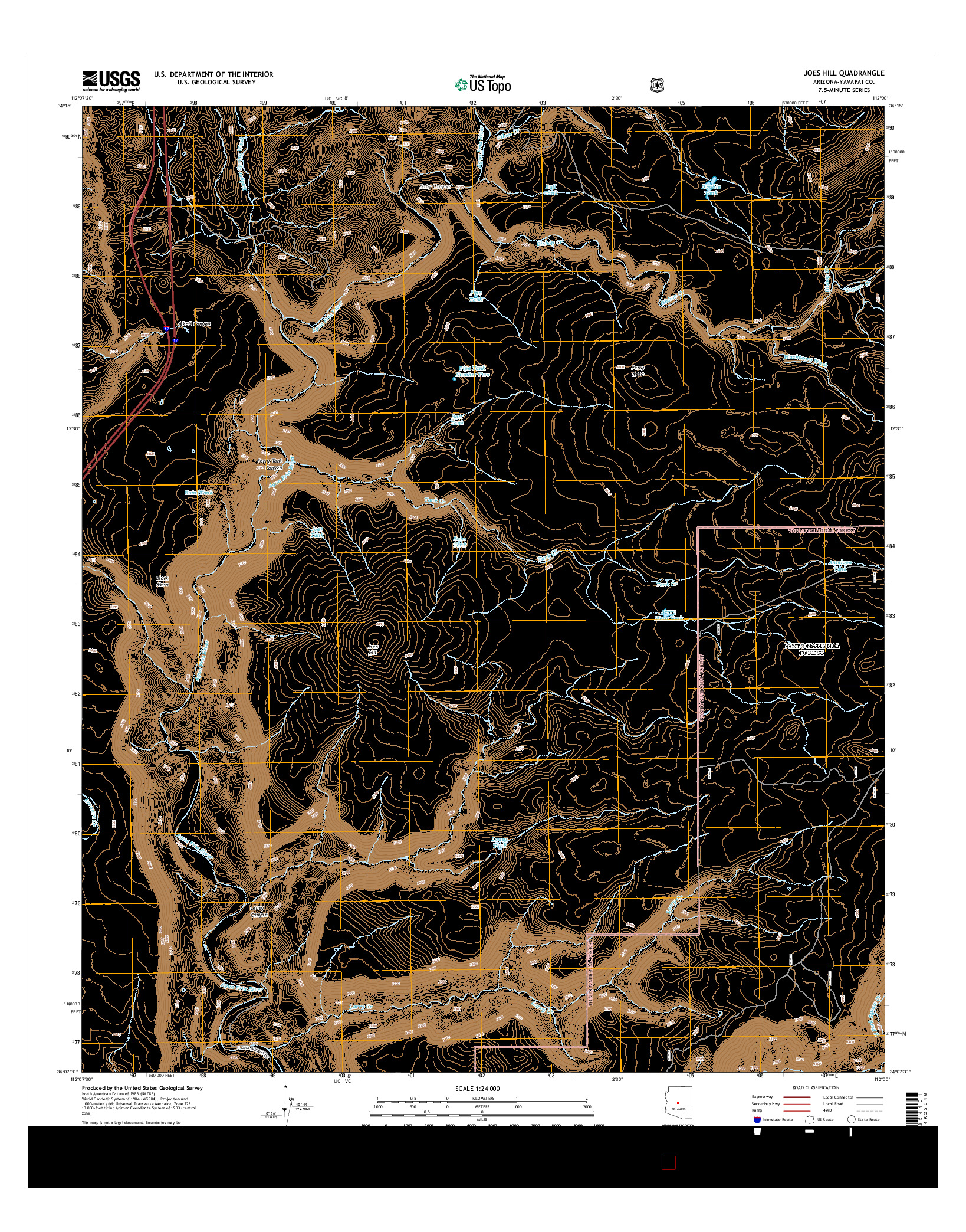 USGS US TOPO 7.5-MINUTE MAP FOR JOES HILL, AZ 2014