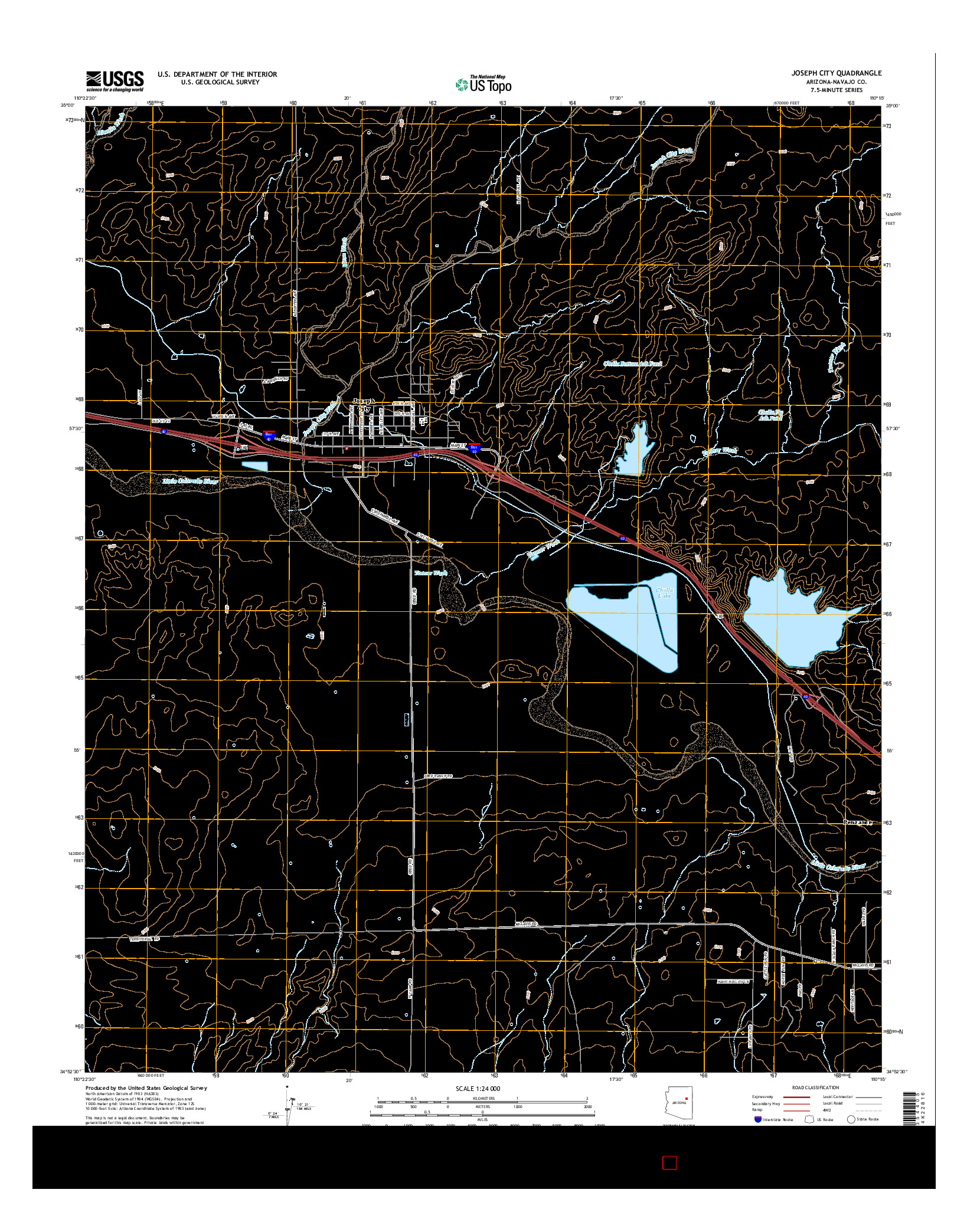 USGS US TOPO 7.5-MINUTE MAP FOR JOSEPH CITY, AZ 2014