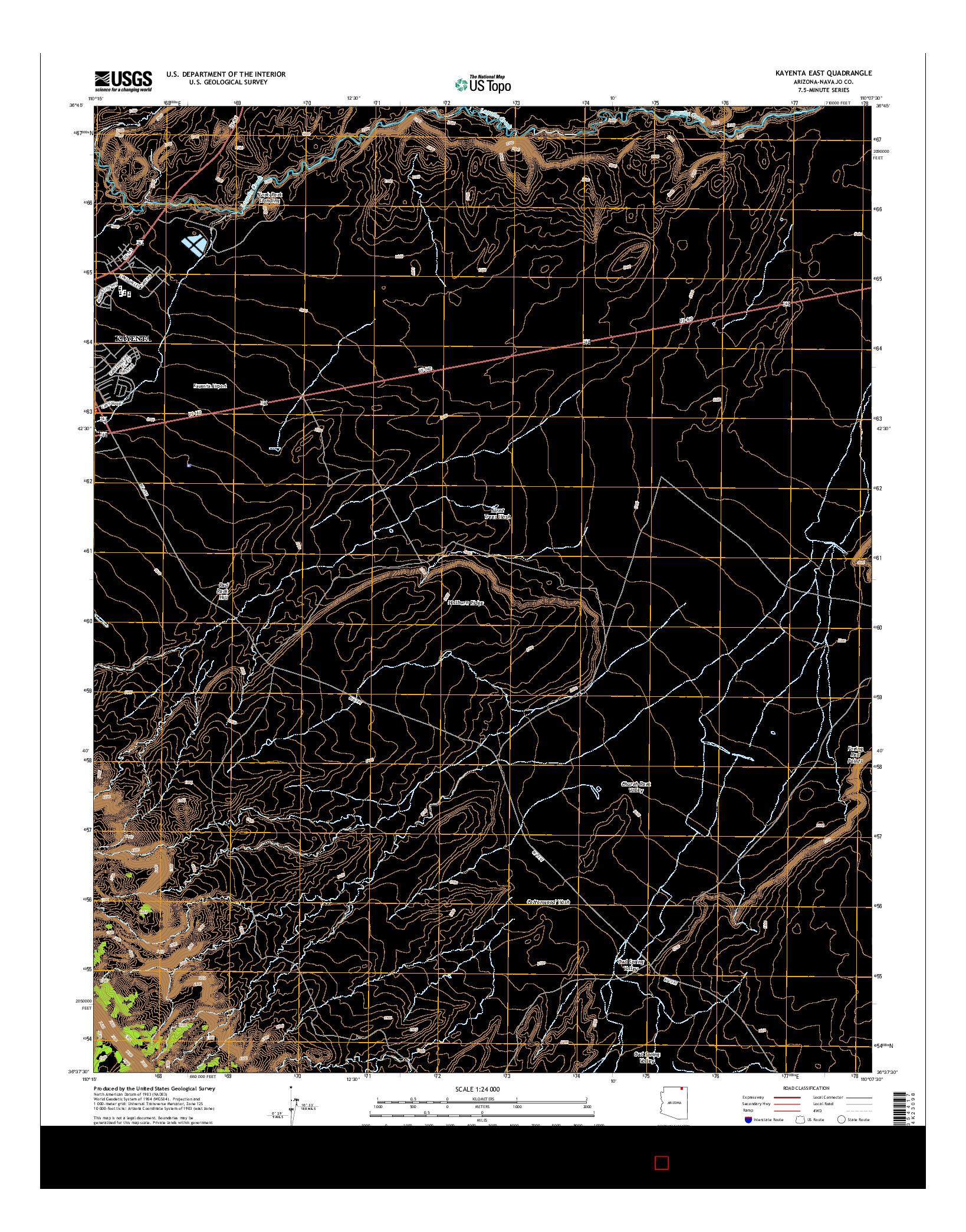 USGS US TOPO 7.5-MINUTE MAP FOR KAYENTA EAST, AZ 2014