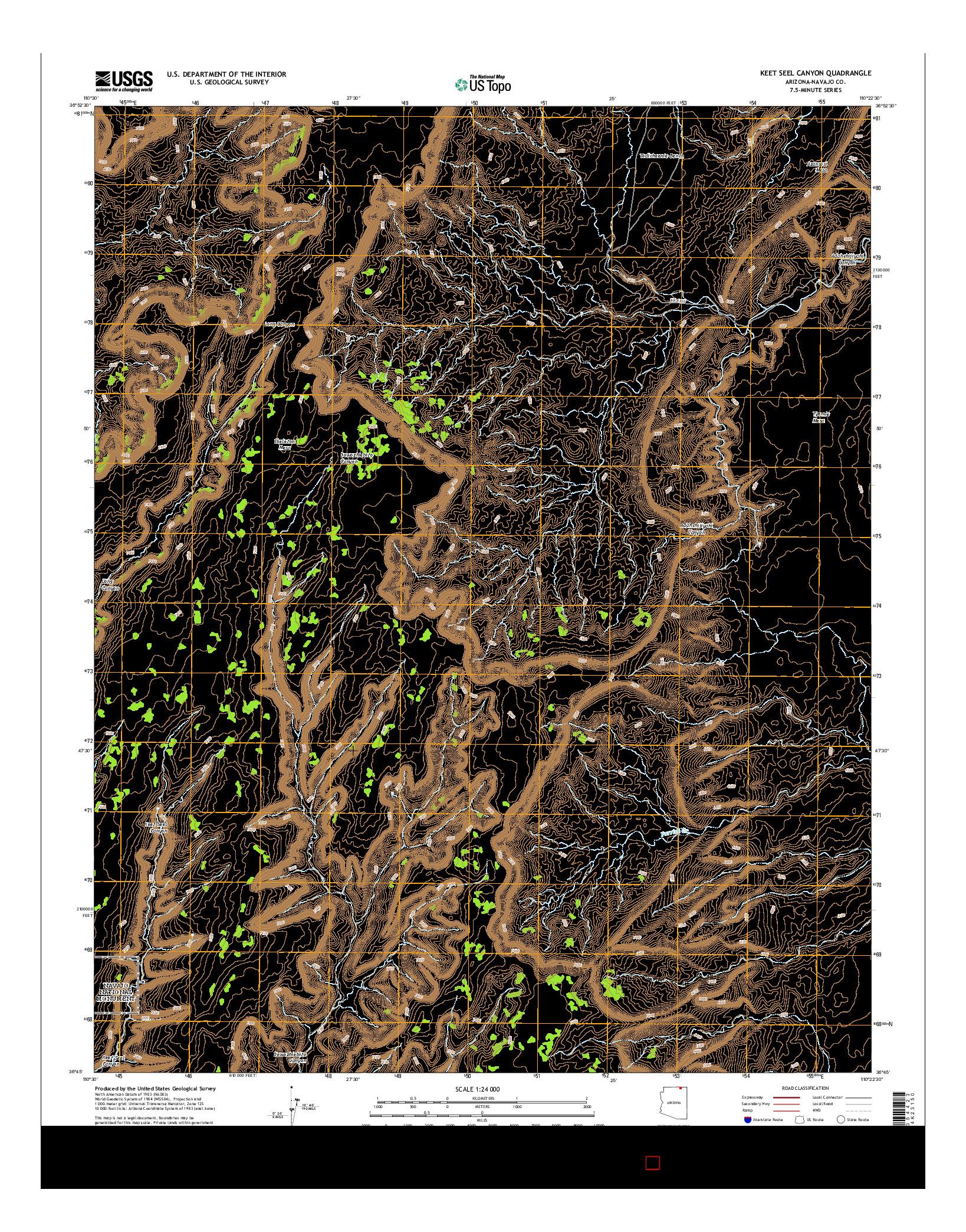 USGS US TOPO 7.5-MINUTE MAP FOR KEET SEEL CANYON, AZ 2014