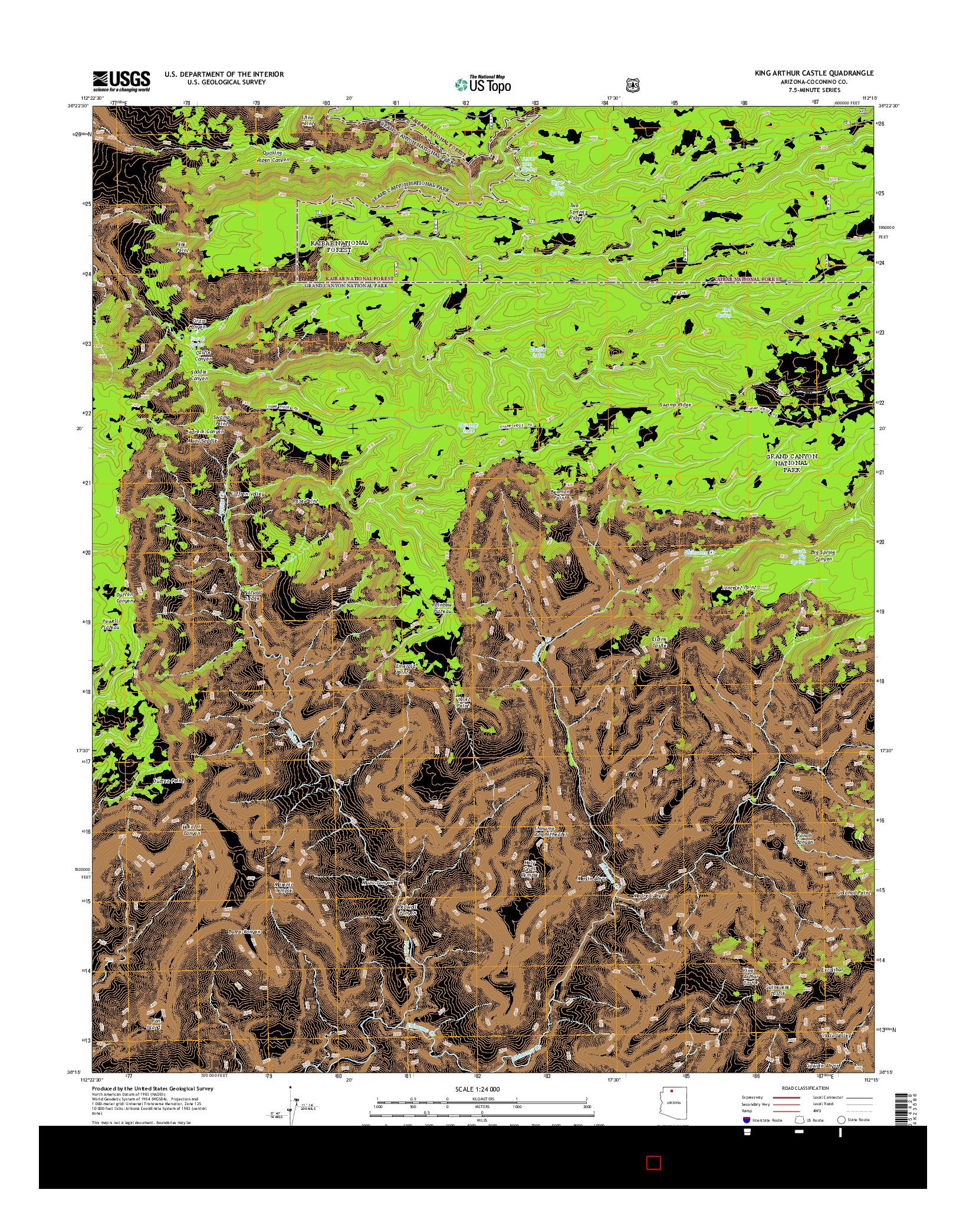USGS US TOPO 7.5-MINUTE MAP FOR KING ARTHUR CASTLE, AZ 2014
