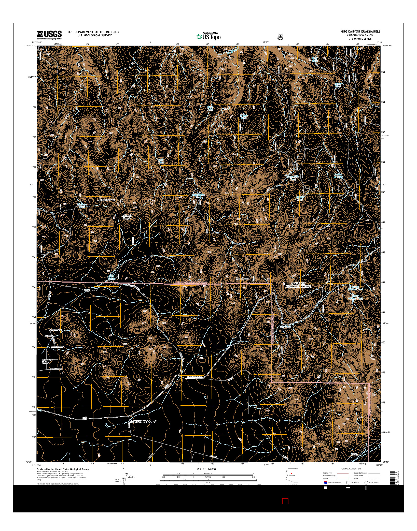 USGS US TOPO 7.5-MINUTE MAP FOR KING CANYON, AZ 2014