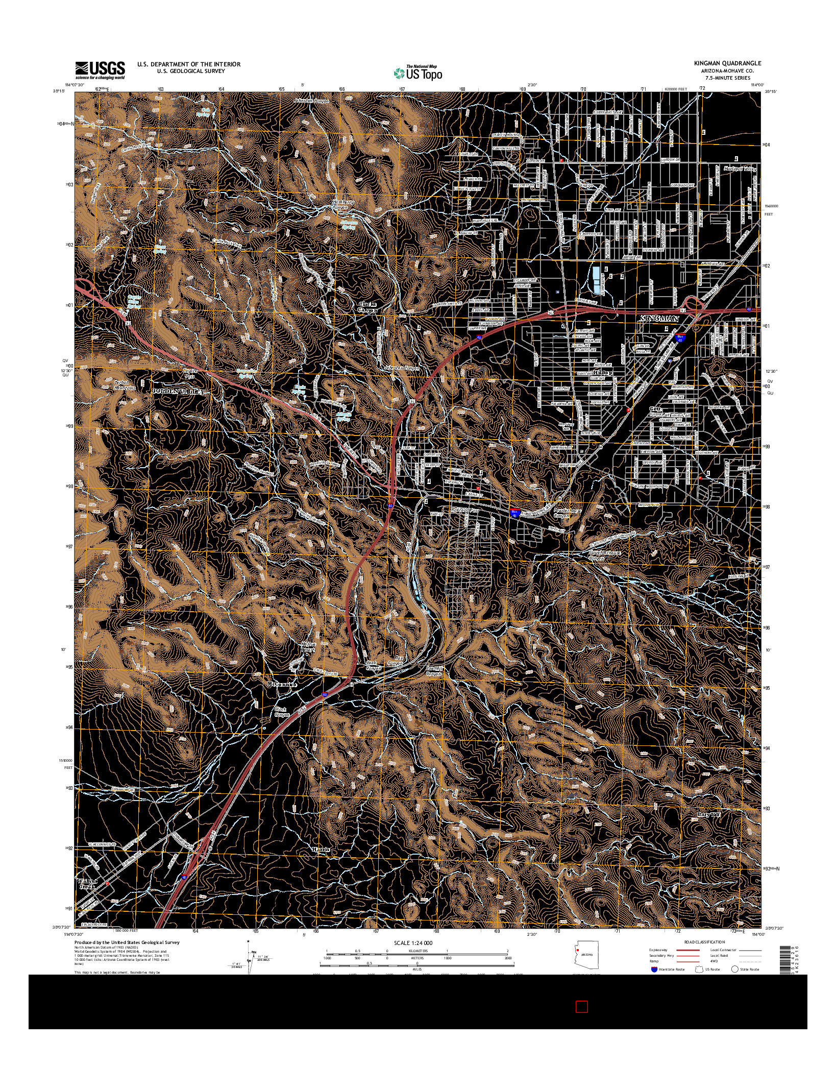 USGS US TOPO 7.5-MINUTE MAP FOR KINGMAN, AZ 2014