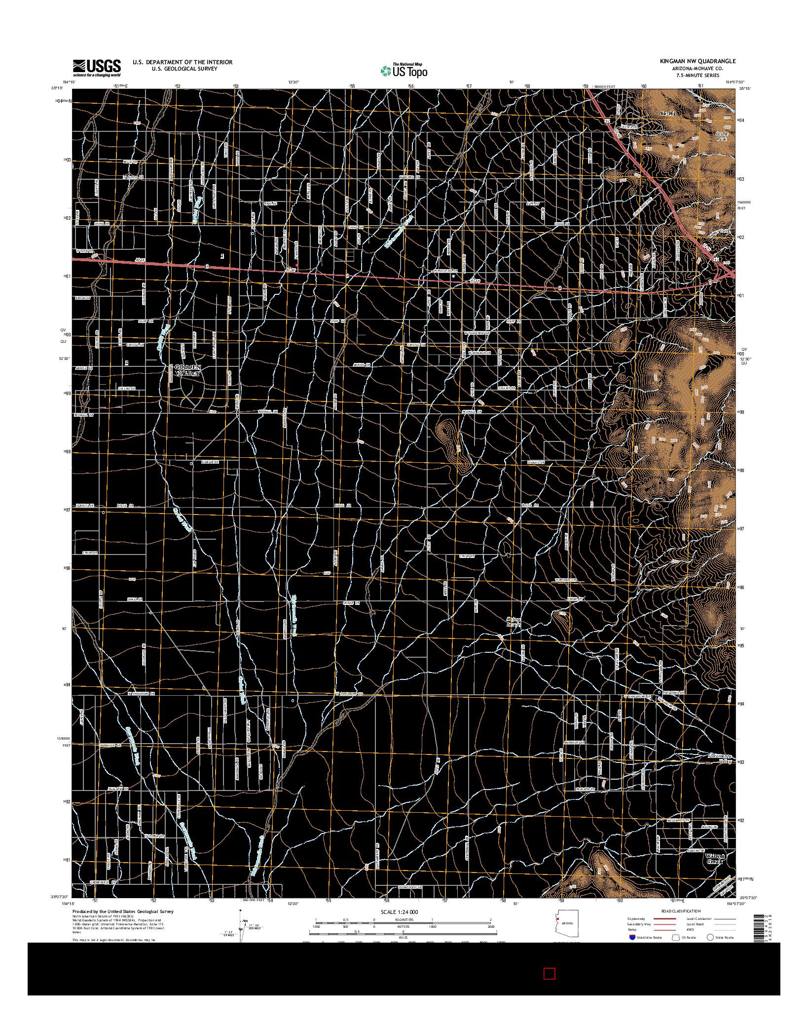 USGS US TOPO 7.5-MINUTE MAP FOR KINGMAN NW, AZ 2014
