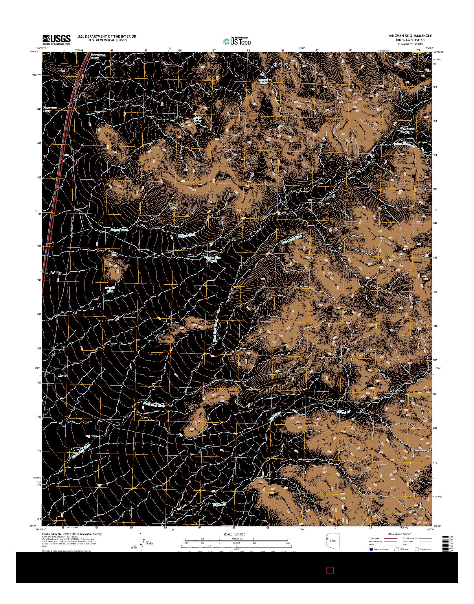 USGS US TOPO 7.5-MINUTE MAP FOR KINGMAN SE, AZ 2014