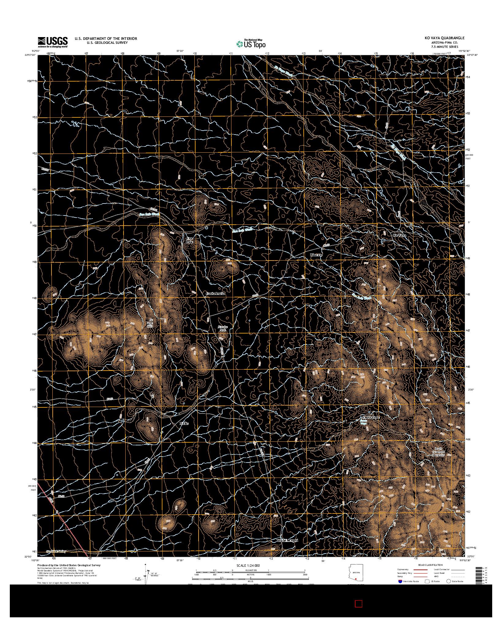 USGS US TOPO 7.5-MINUTE MAP FOR KO VAYA, AZ 2014