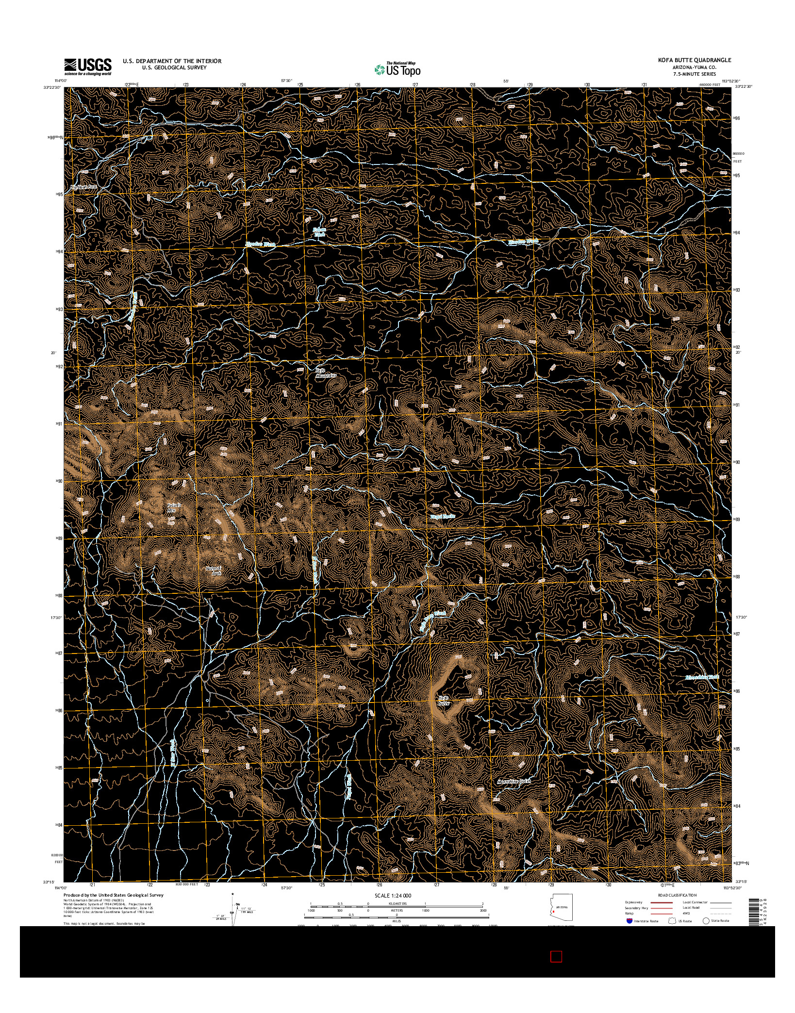 USGS US TOPO 7.5-MINUTE MAP FOR KOFA BUTTE, AZ 2014