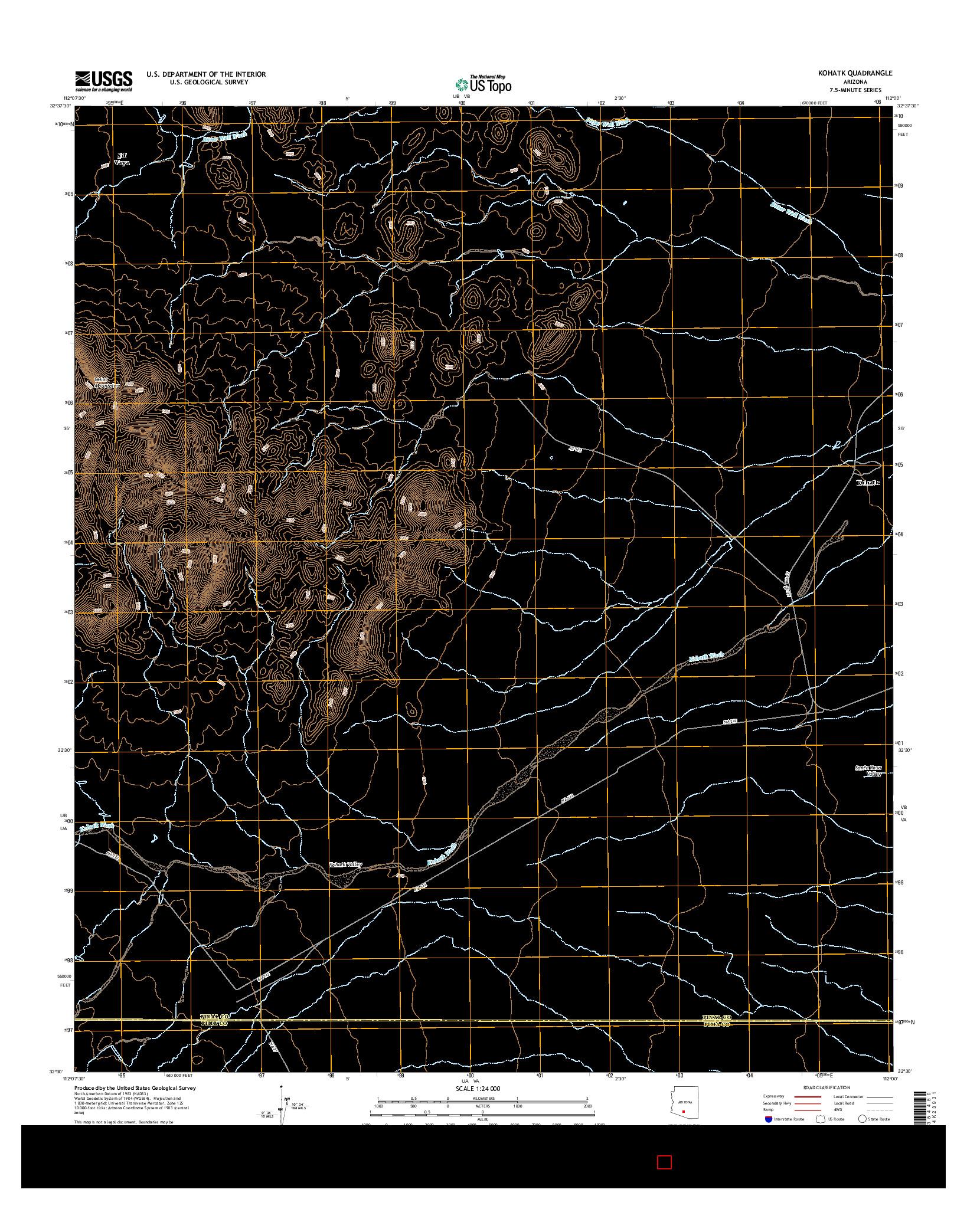 USGS US TOPO 7.5-MINUTE MAP FOR KOHATK, AZ 2014