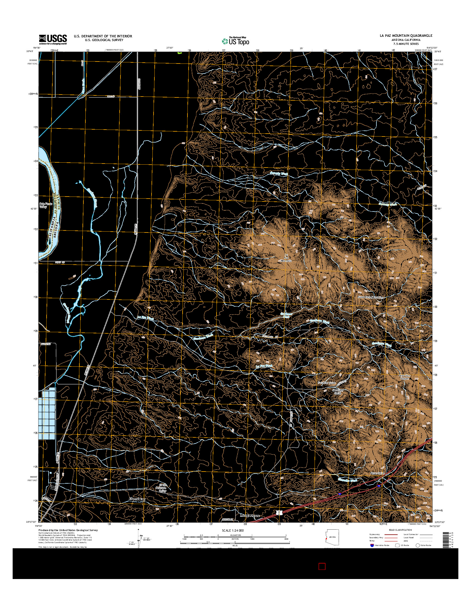 USGS US TOPO 7.5-MINUTE MAP FOR LA PAZ MOUNTAIN, AZ-CA 2014