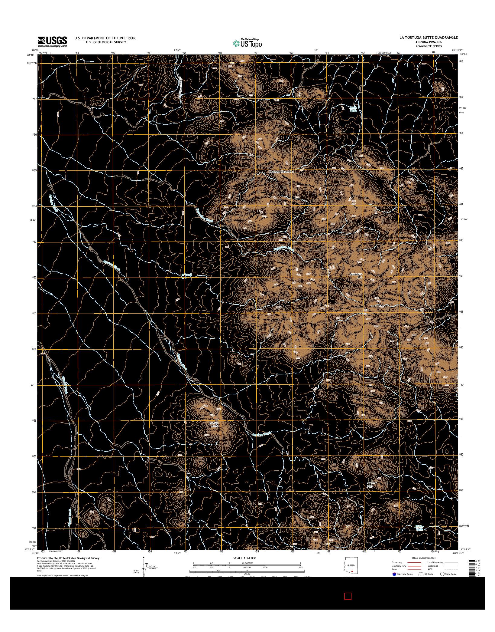 USGS US TOPO 7.5-MINUTE MAP FOR LA TORTUGA BUTTE, AZ 2014