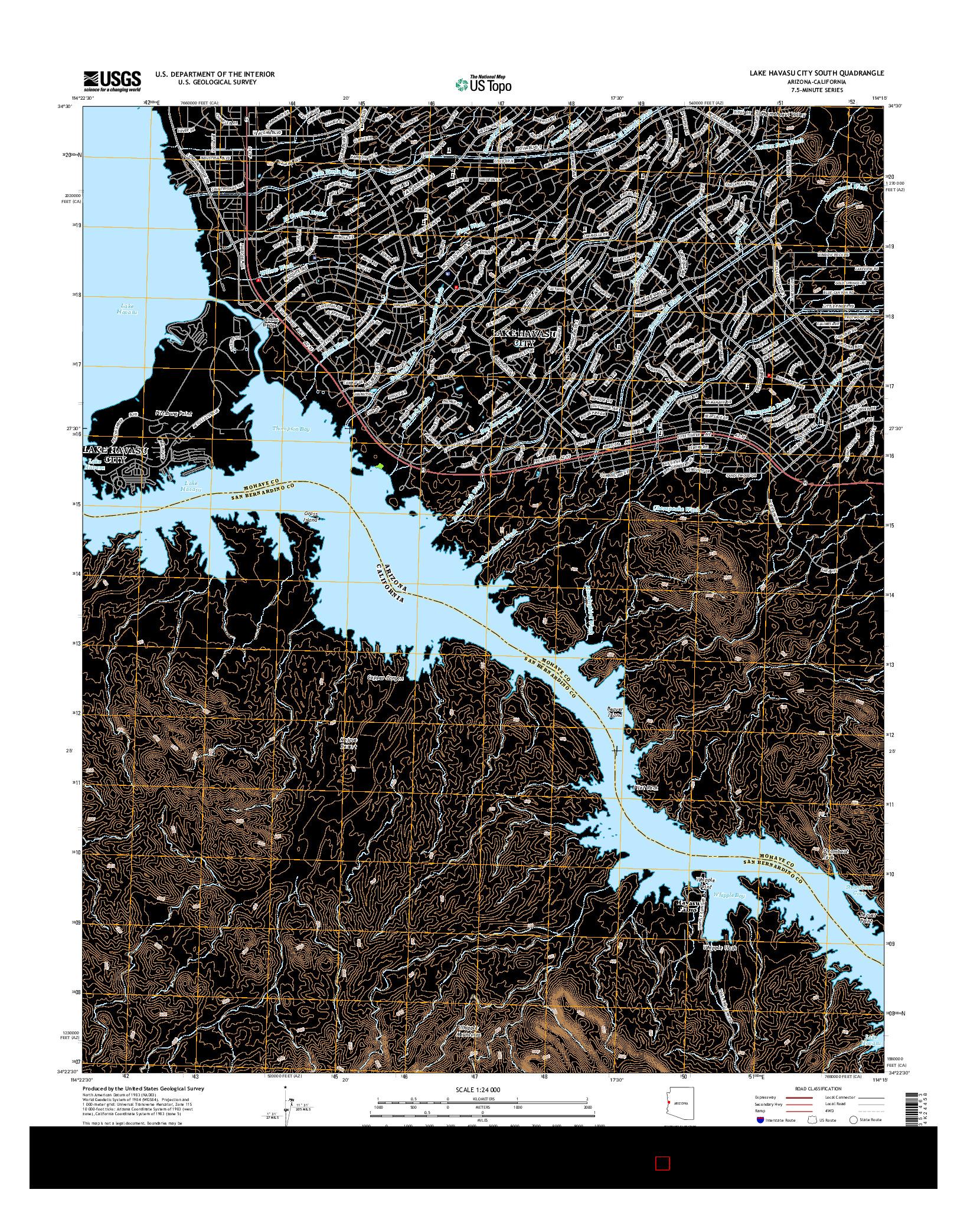 USGS US TOPO 7.5-MINUTE MAP FOR LAKE HAVASU CITY SOUTH, AZ-CA 2014