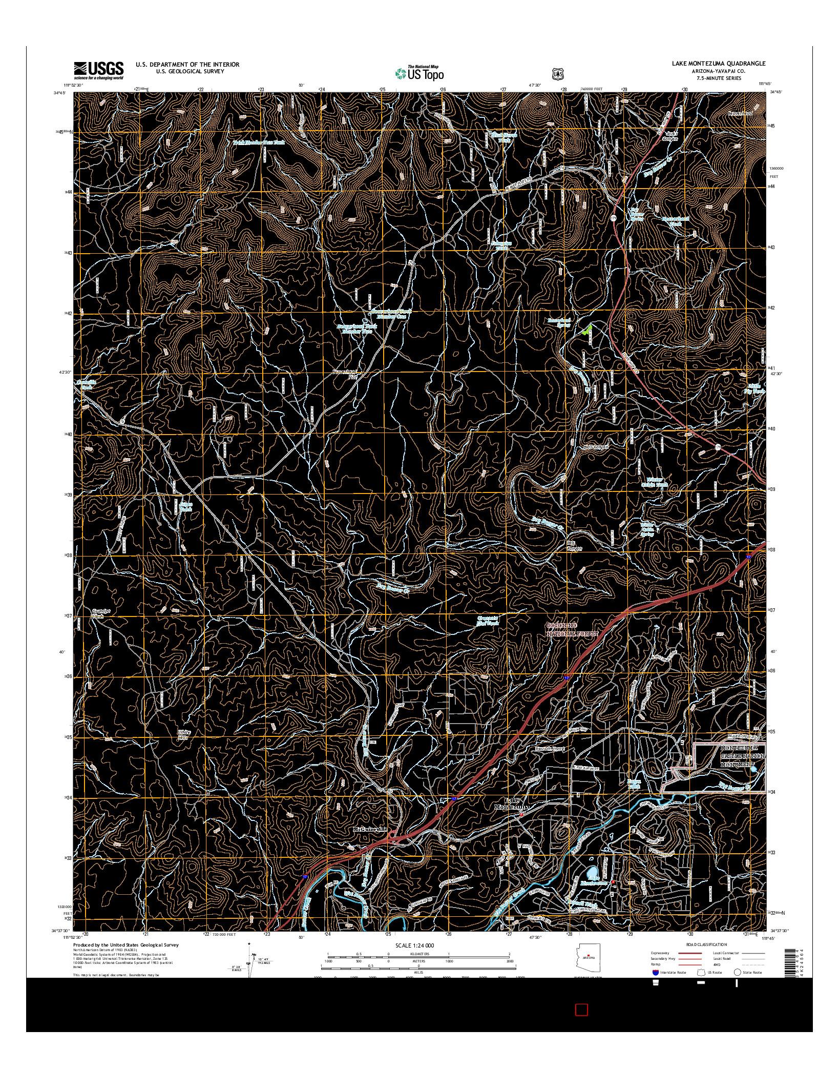 USGS US TOPO 7.5-MINUTE MAP FOR LAKE MONTEZUMA, AZ 2014