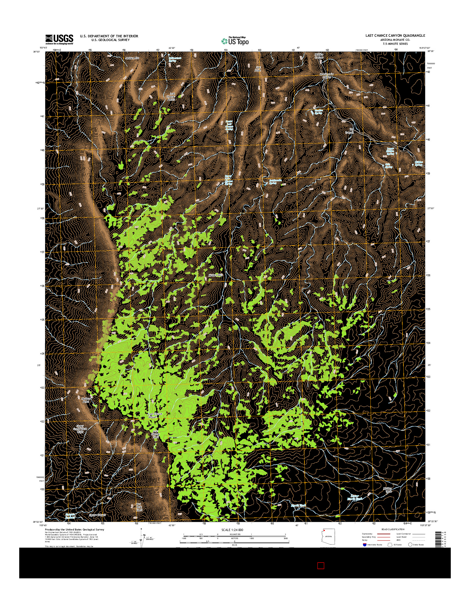 USGS US TOPO 7.5-MINUTE MAP FOR LAST CHANCE CANYON, AZ 2014