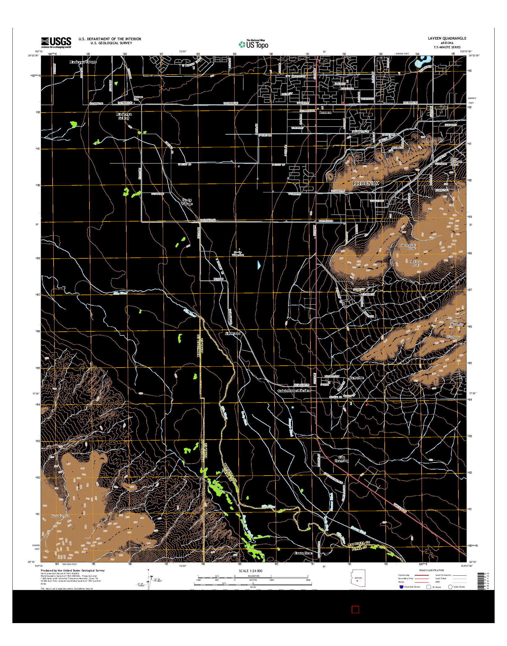 USGS US TOPO 7.5-MINUTE MAP FOR LAVEEN, AZ 2014