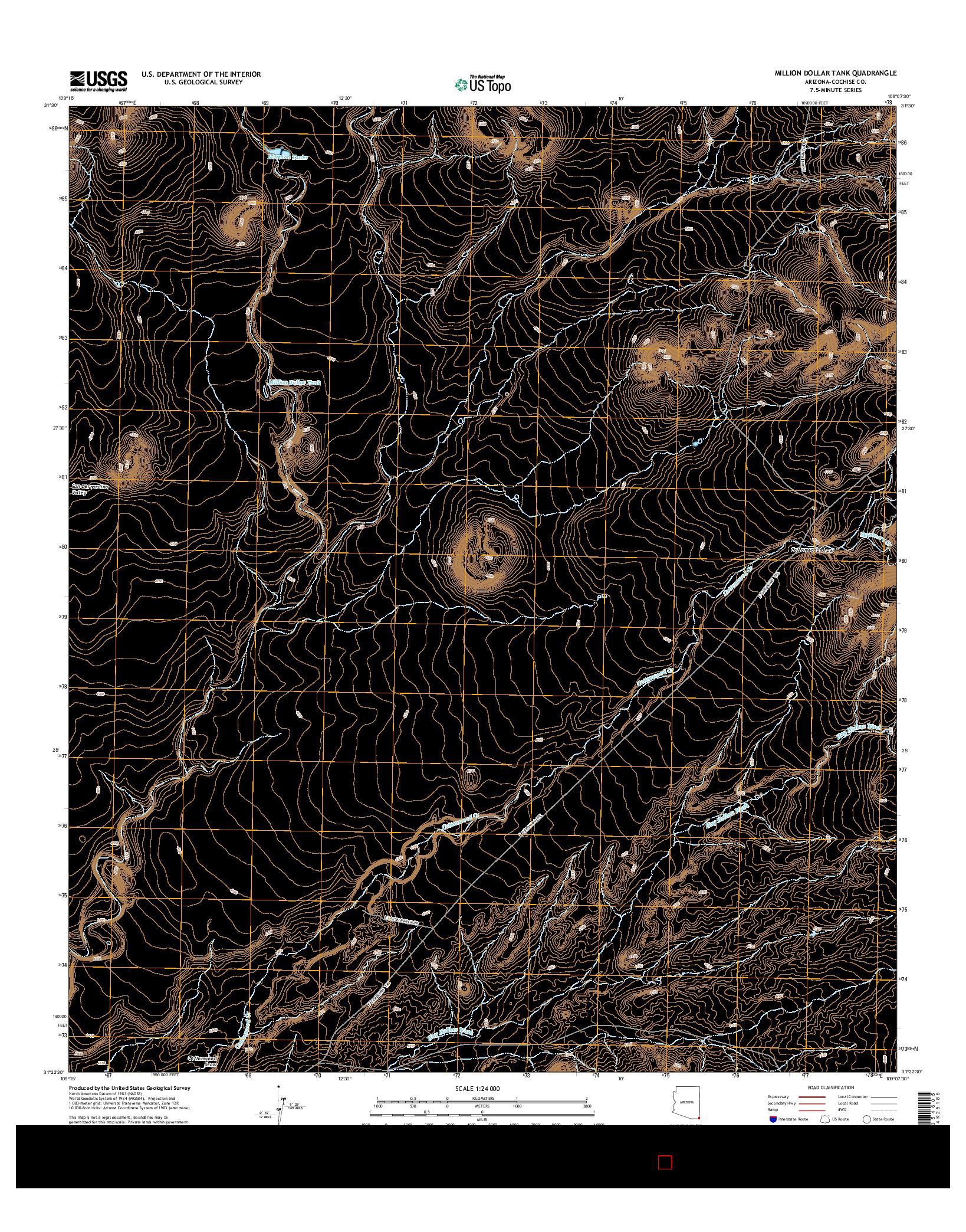 USGS US TOPO 7.5-MINUTE MAP FOR MILLION DOLLAR TANK, AZ 2014