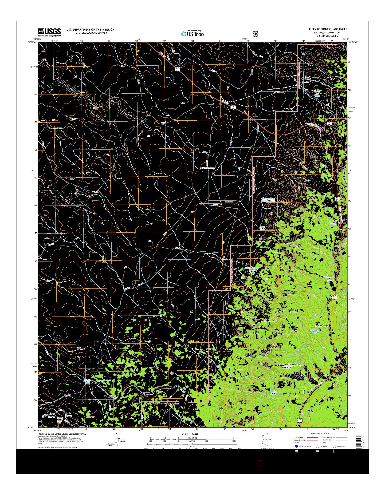 USGS US TOPO 7.5-MINUTE MAP FOR LE FEVRE RIDGE, AZ 2014