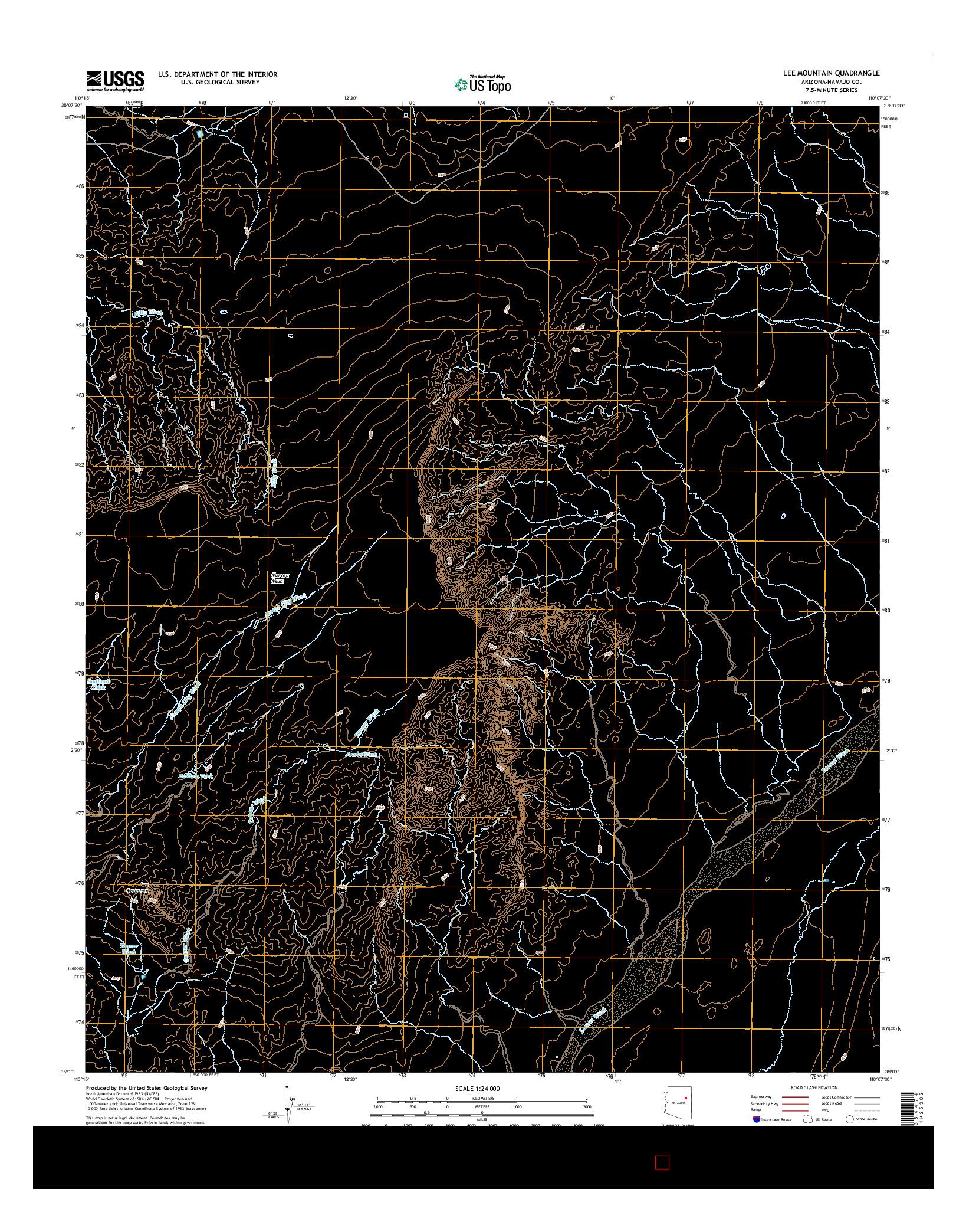 USGS US TOPO 7.5-MINUTE MAP FOR LEE MOUNTAIN, AZ 2014