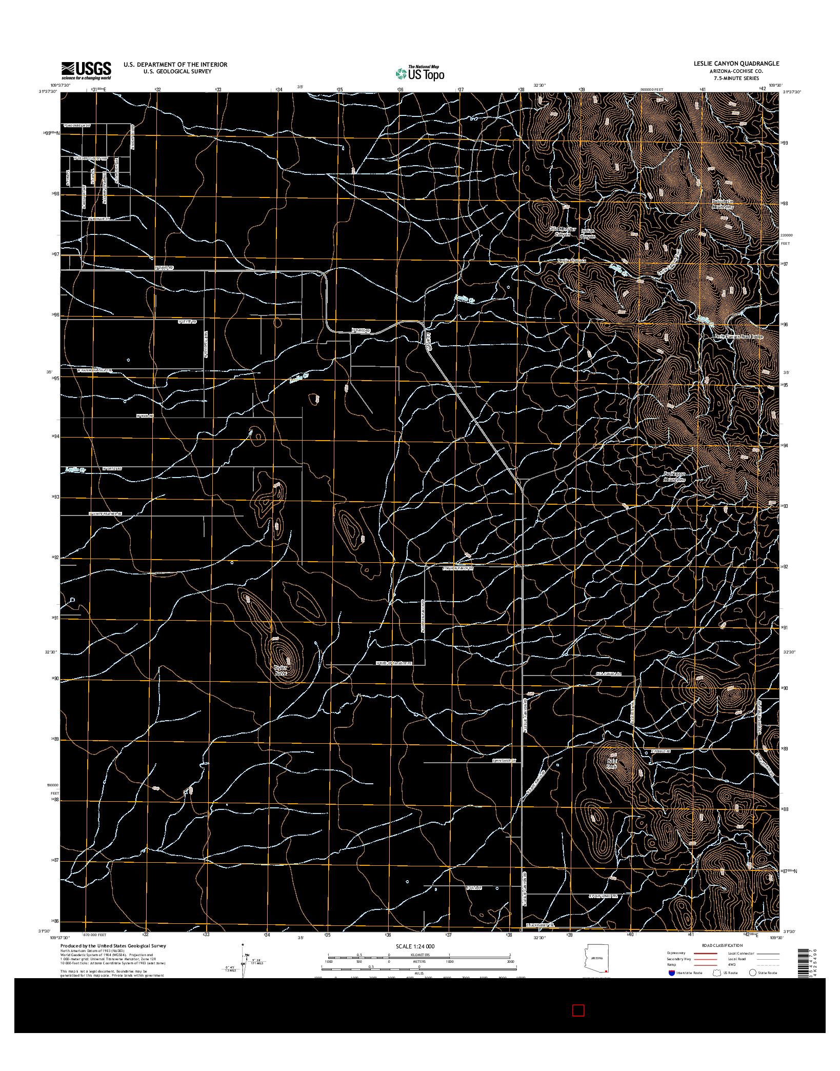 USGS US TOPO 7.5-MINUTE MAP FOR LESLIE CANYON, AZ 2014