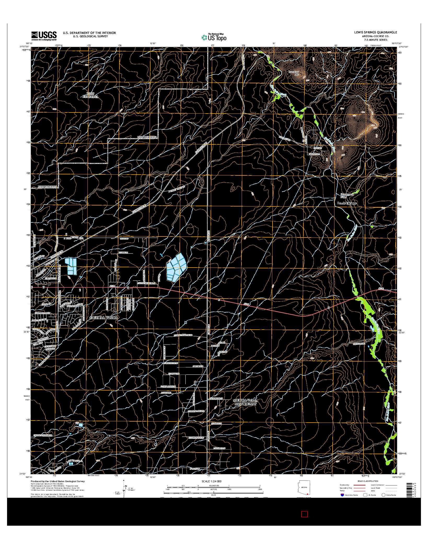 USGS US TOPO 7.5-MINUTE MAP FOR LEWIS SPRINGS, AZ 2014