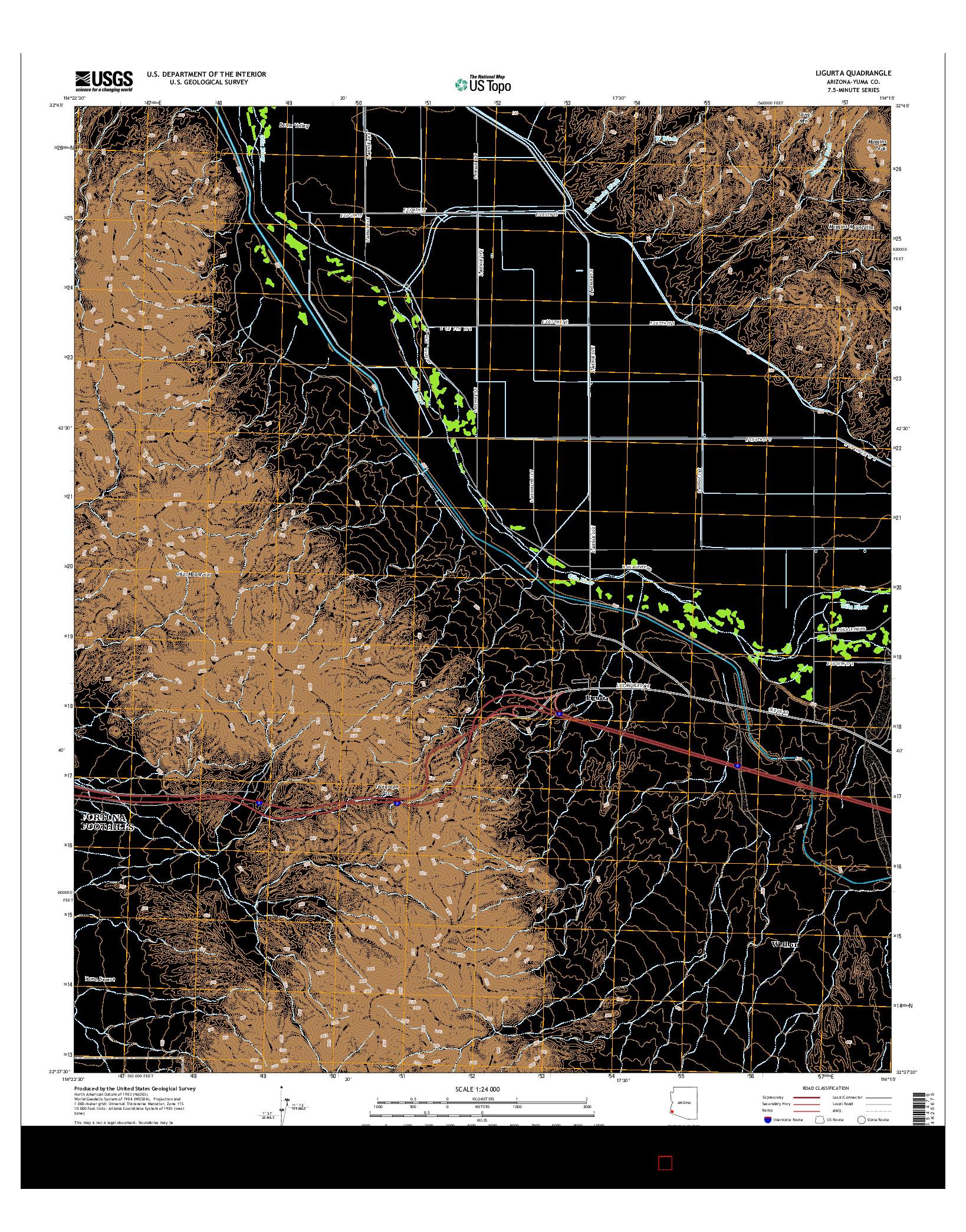 USGS US TOPO 7.5-MINUTE MAP FOR LIGURTA, AZ 2014