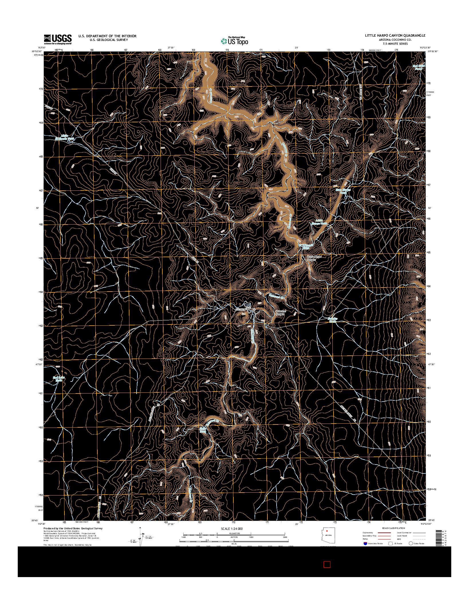 USGS US TOPO 7.5-MINUTE MAP FOR LITTLE HARPO CANYON, AZ 2014