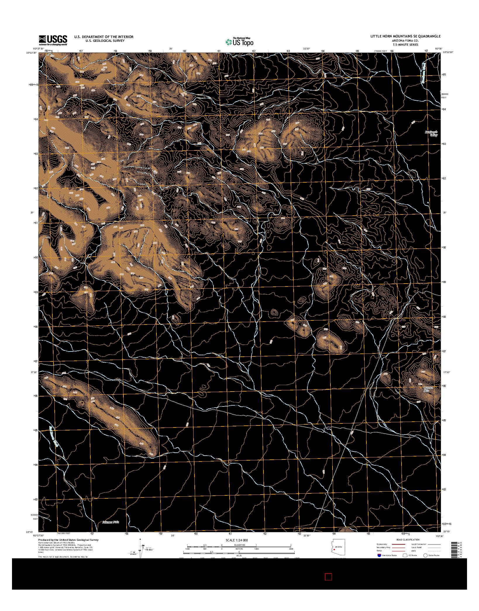 USGS US TOPO 7.5-MINUTE MAP FOR LITTLE HORN MOUNTAINS SE, AZ 2014