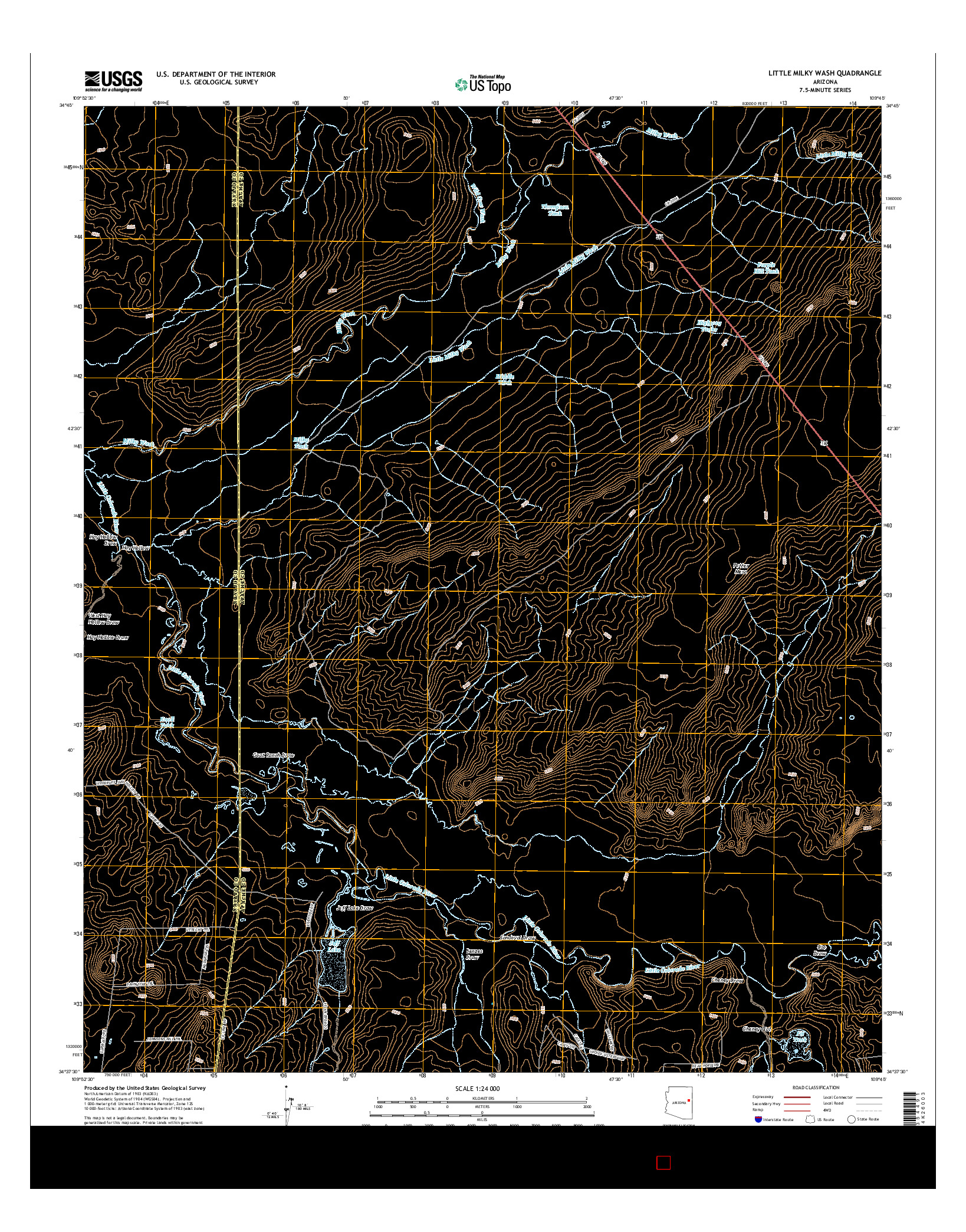USGS US TOPO 7.5-MINUTE MAP FOR LITTLE MILKY WASH, AZ 2014