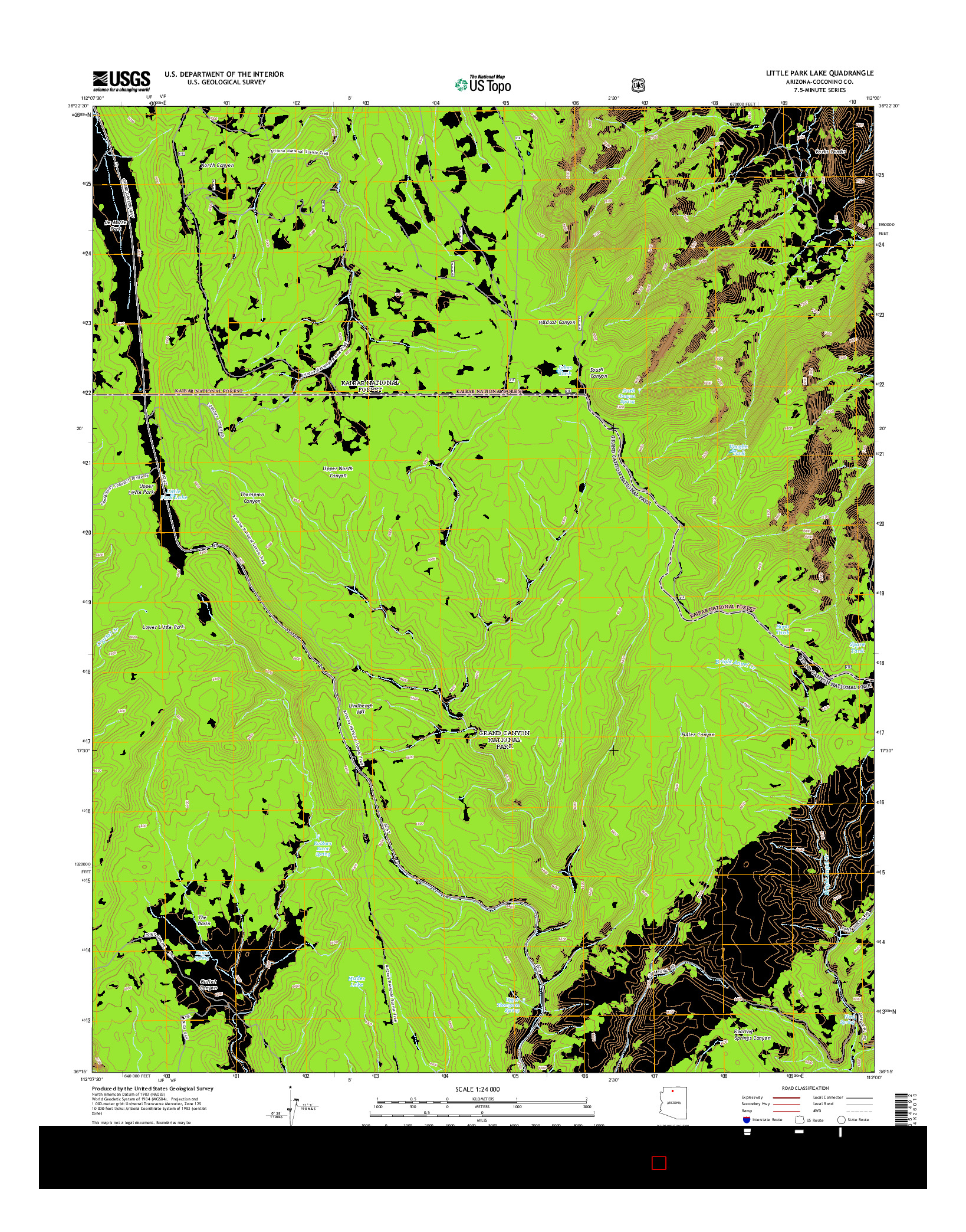 USGS US TOPO 7.5-MINUTE MAP FOR LITTLE PARK LAKE, AZ 2014