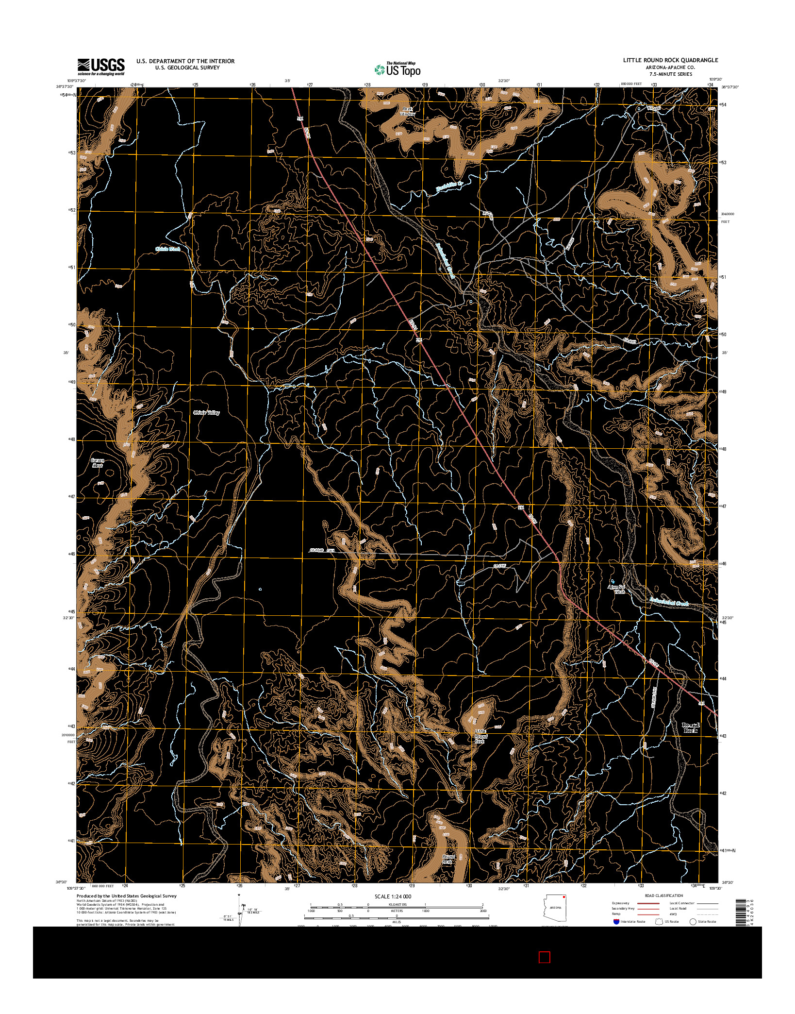 USGS US TOPO 7.5-MINUTE MAP FOR LITTLE ROUND ROCK, AZ 2014