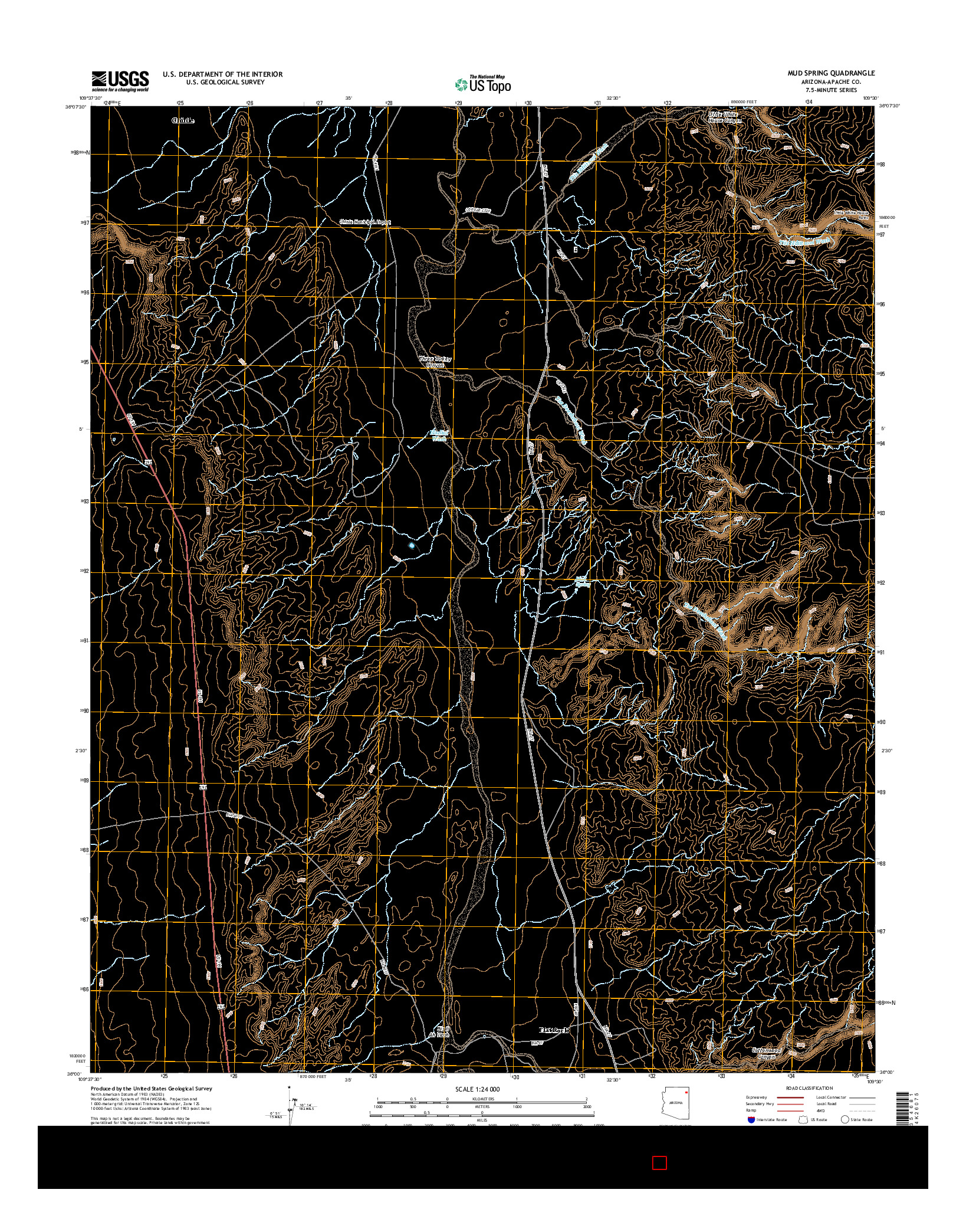 USGS US TOPO 7.5-MINUTE MAP FOR MUD SPRING, AZ 2014