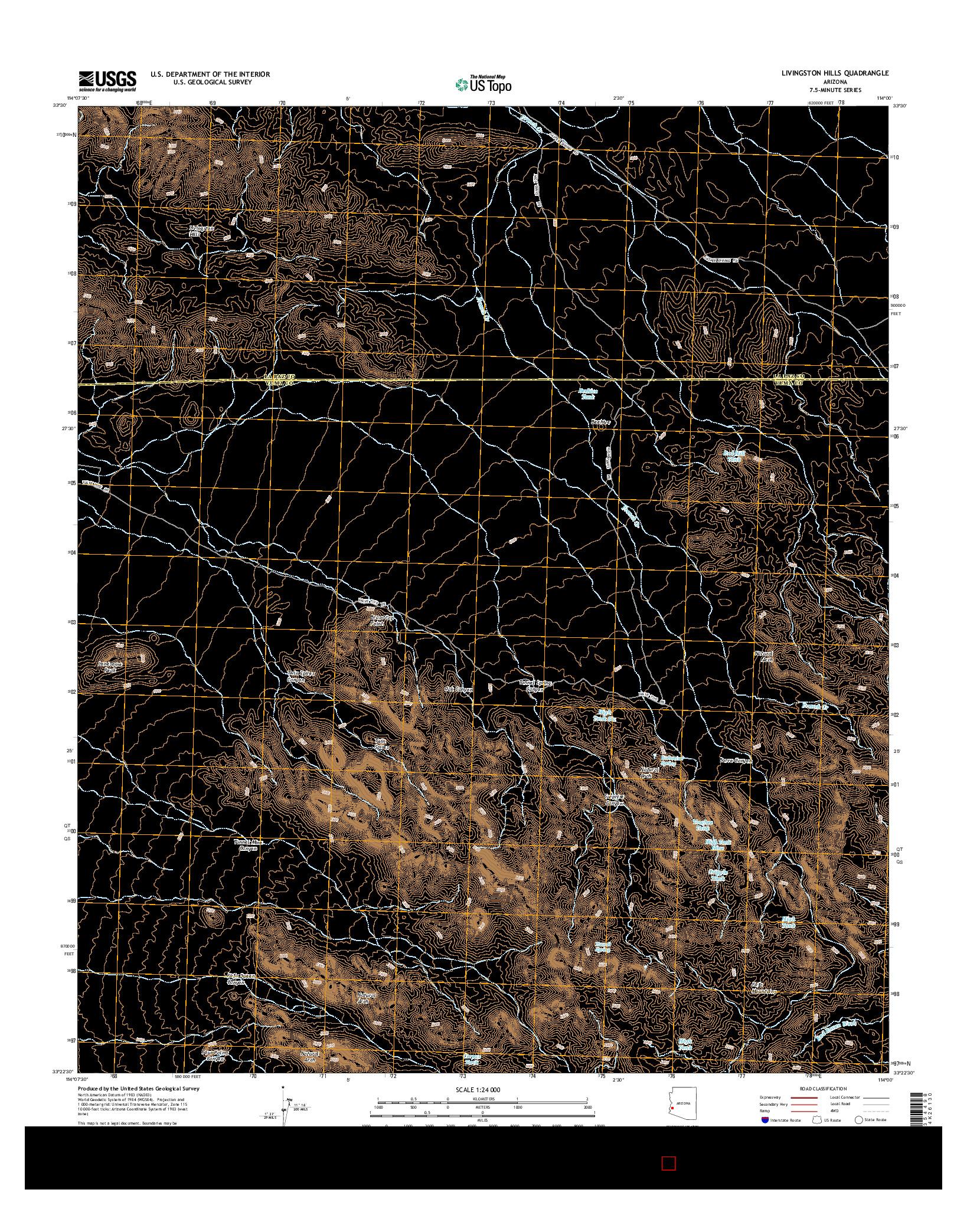 USGS US TOPO 7.5-MINUTE MAP FOR LIVINGSTON HILLS, AZ 2014