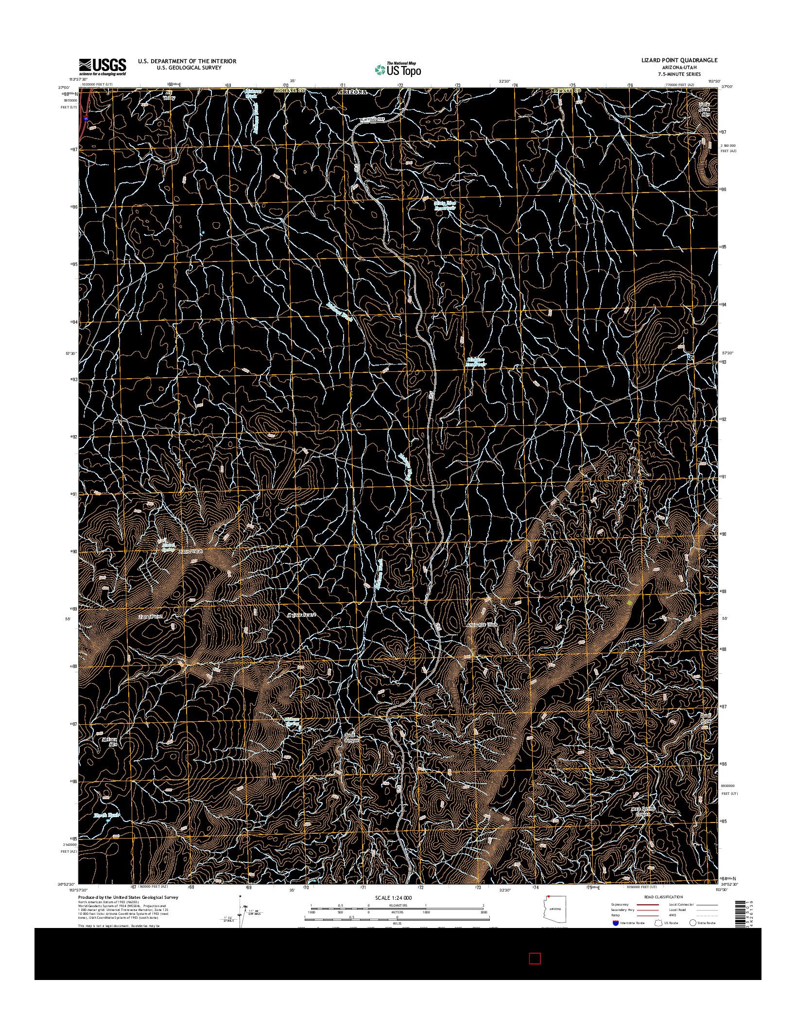USGS US TOPO 7.5-MINUTE MAP FOR LIZARD POINT, AZ-UT 2014