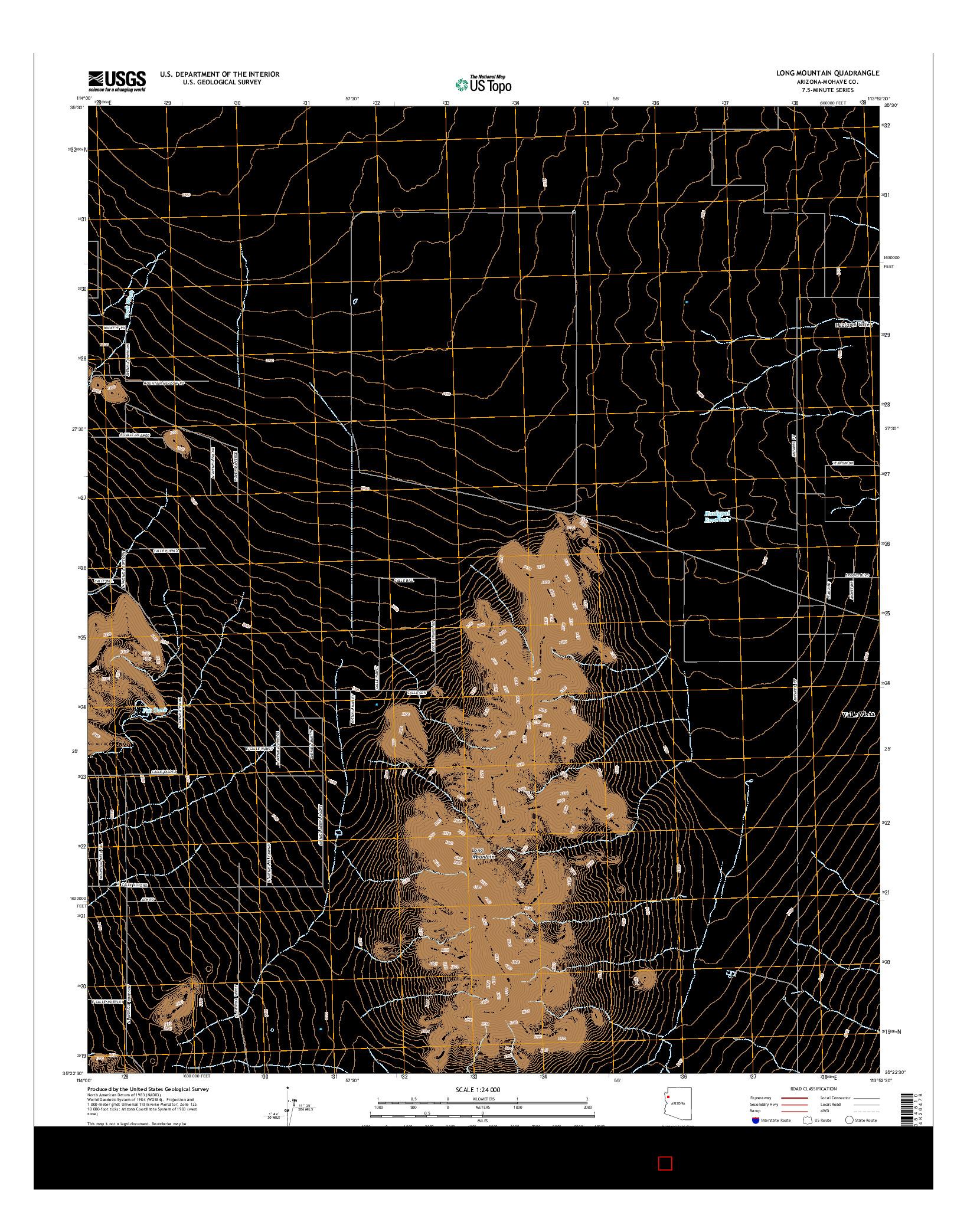 USGS US TOPO 7.5-MINUTE MAP FOR LONG MOUNTAIN, AZ 2014
