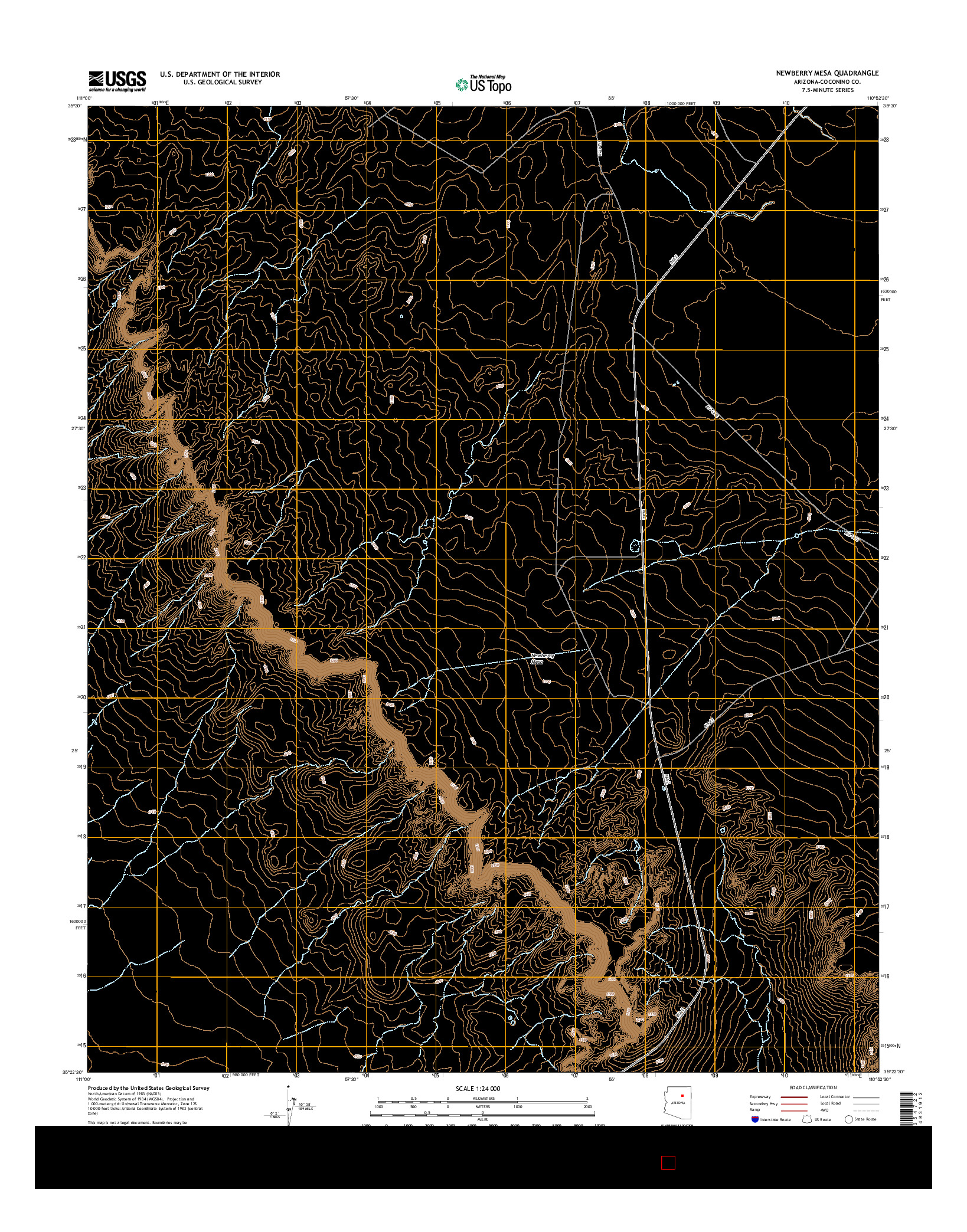 USGS US TOPO 7.5-MINUTE MAP FOR NEWBERRY MESA, AZ 2014