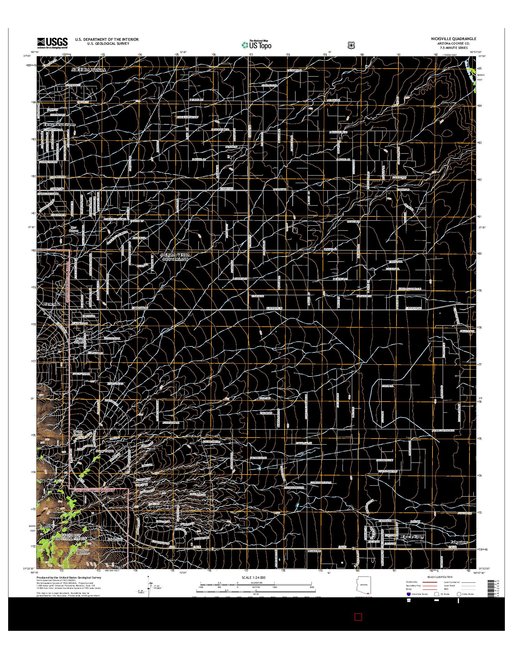 USGS US TOPO 7.5-MINUTE MAP FOR NICKSVILLE, AZ 2014
