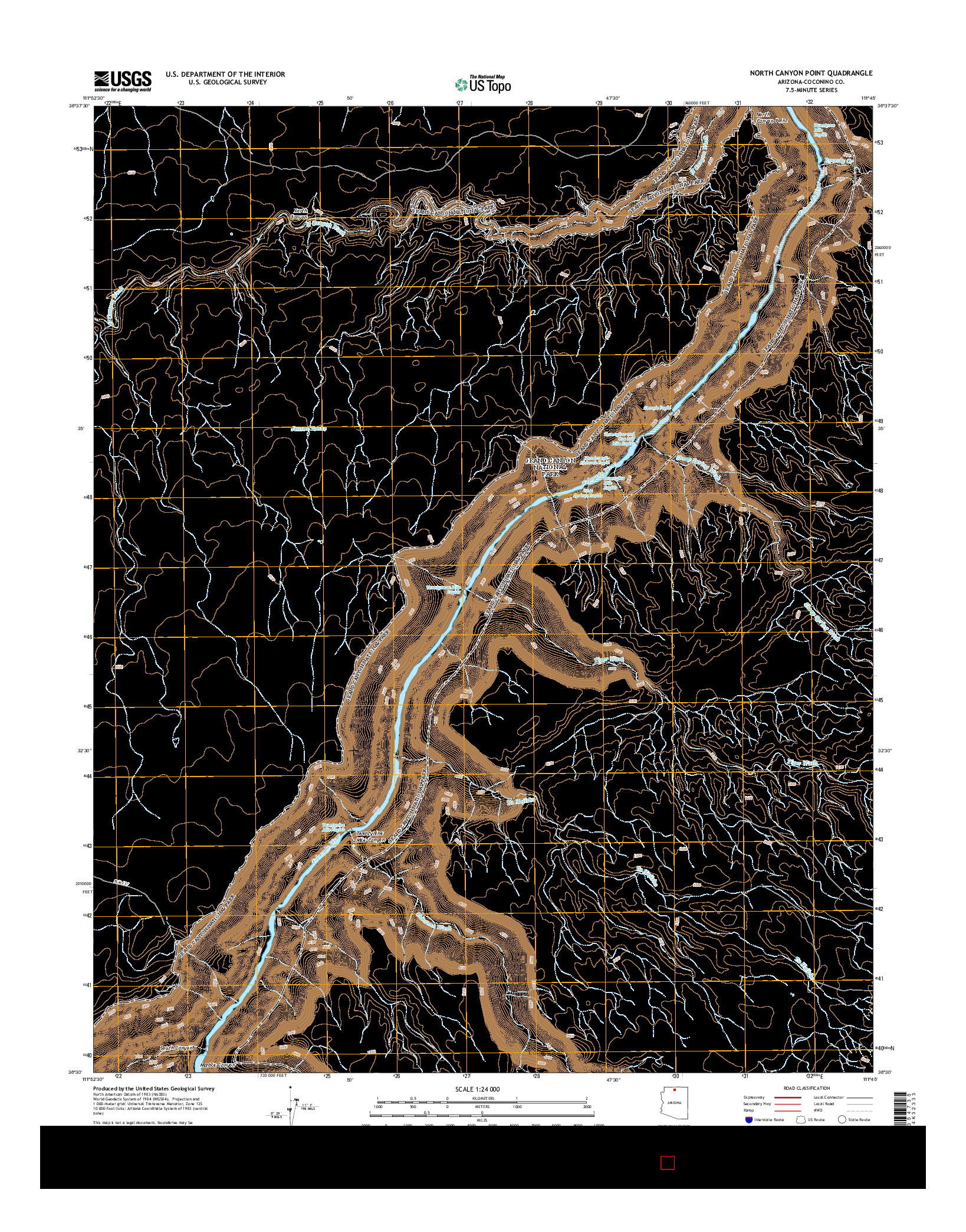 USGS US TOPO 7.5-MINUTE MAP FOR NORTH CANYON POINT, AZ 2014