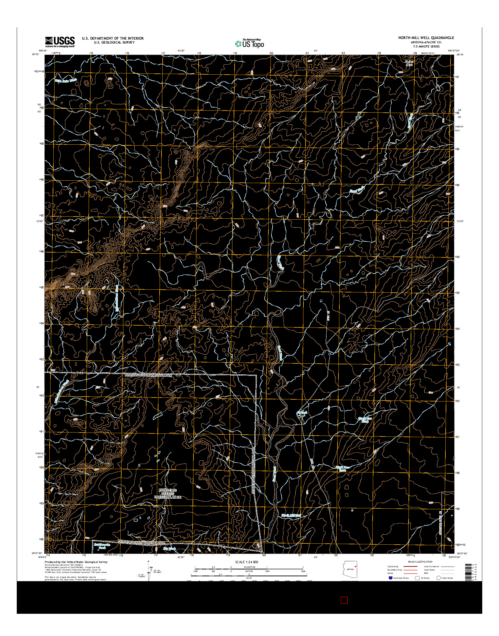 USGS US TOPO 7.5-MINUTE MAP FOR NORTH MILL WELL, AZ 2014