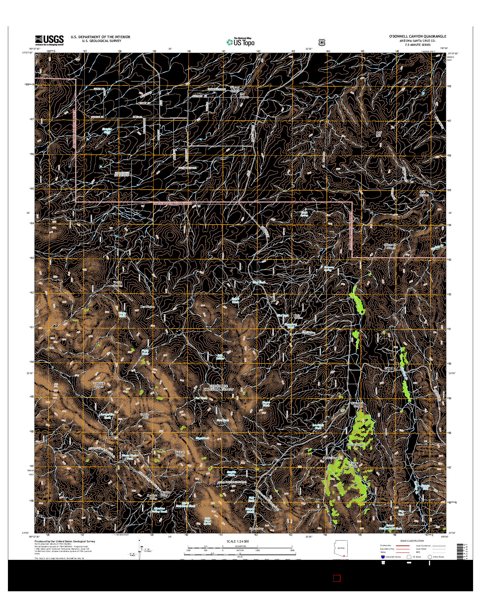 USGS US TOPO 7.5-MINUTE MAP FOR O'DONNELL CANYON, AZ 2014