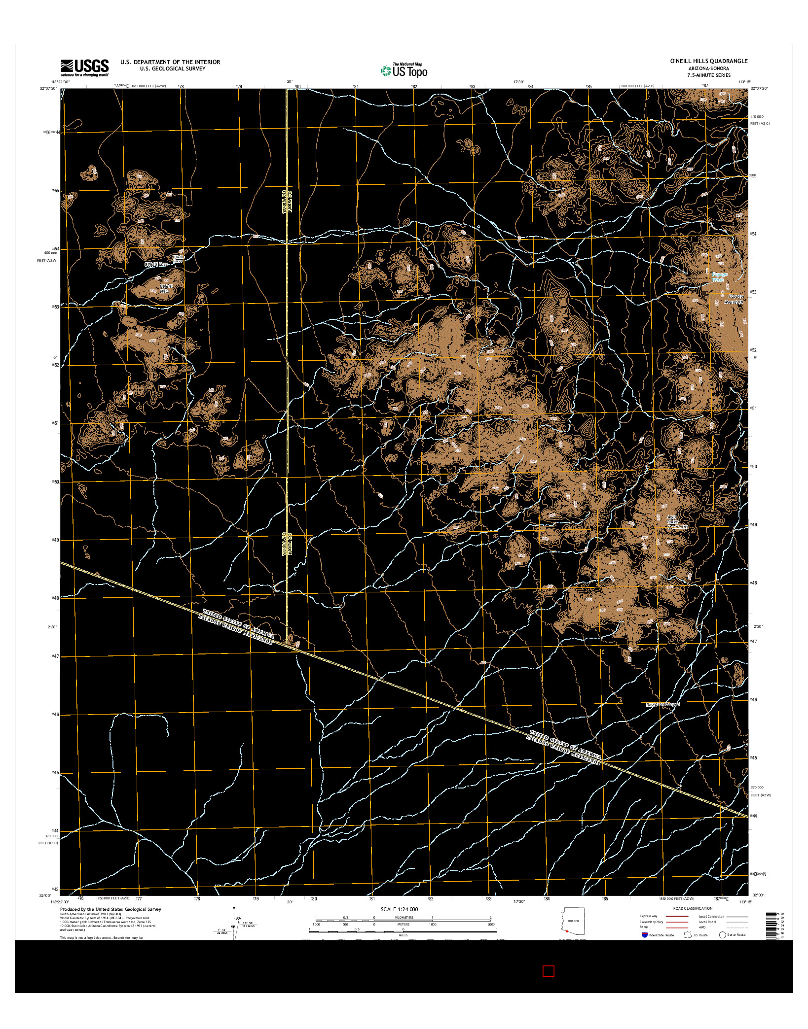 USGS US TOPO 7.5-MINUTE MAP FOR O'NEILL HILLS, AZ-SON 2014