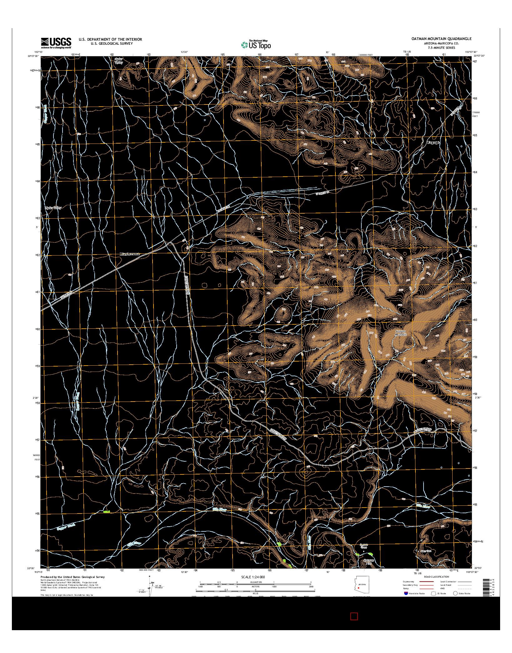 USGS US TOPO 7.5-MINUTE MAP FOR OATMAN MOUNTAIN, AZ 2014