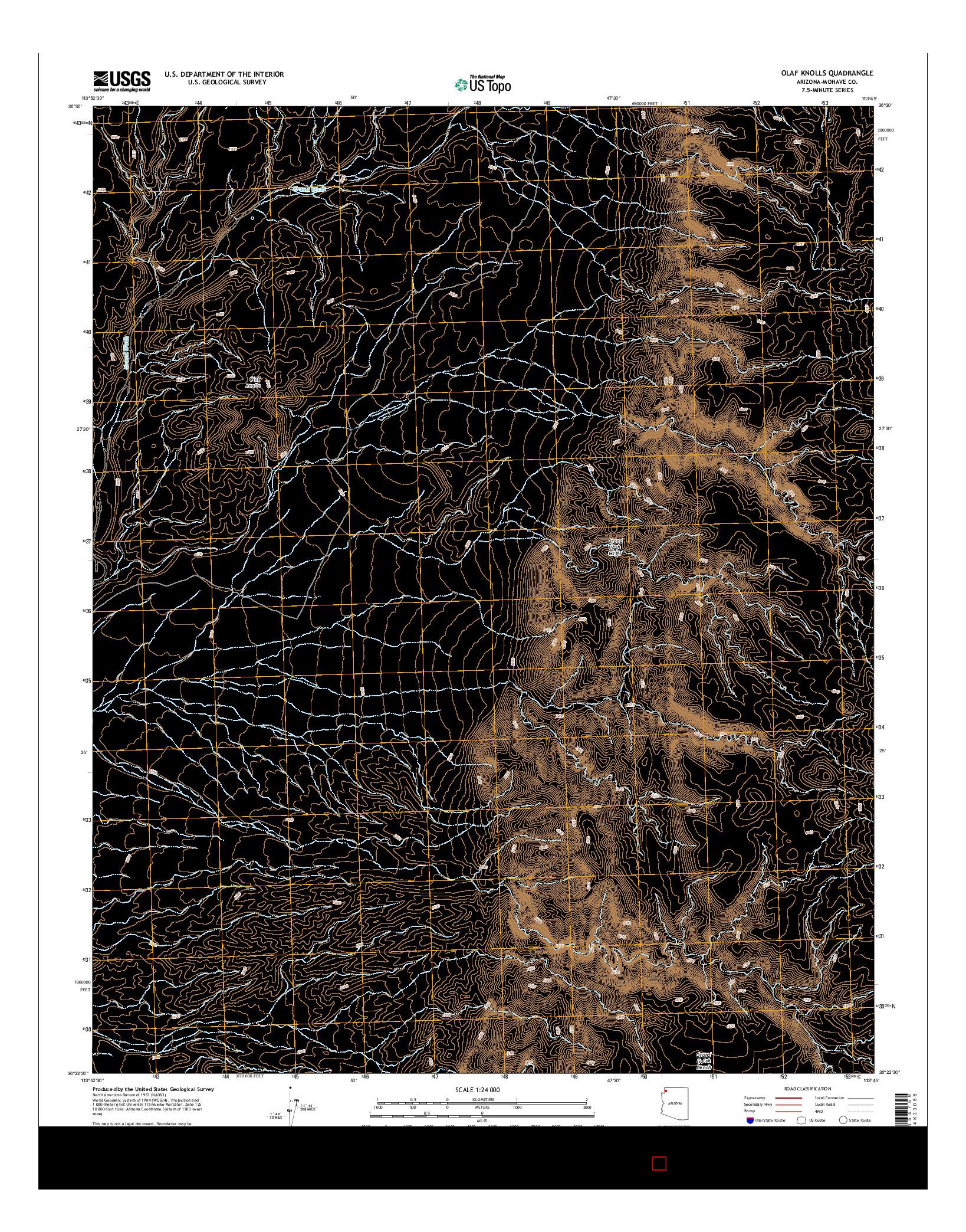 USGS US TOPO 7.5-MINUTE MAP FOR OLAF KNOLLS, AZ 2014
