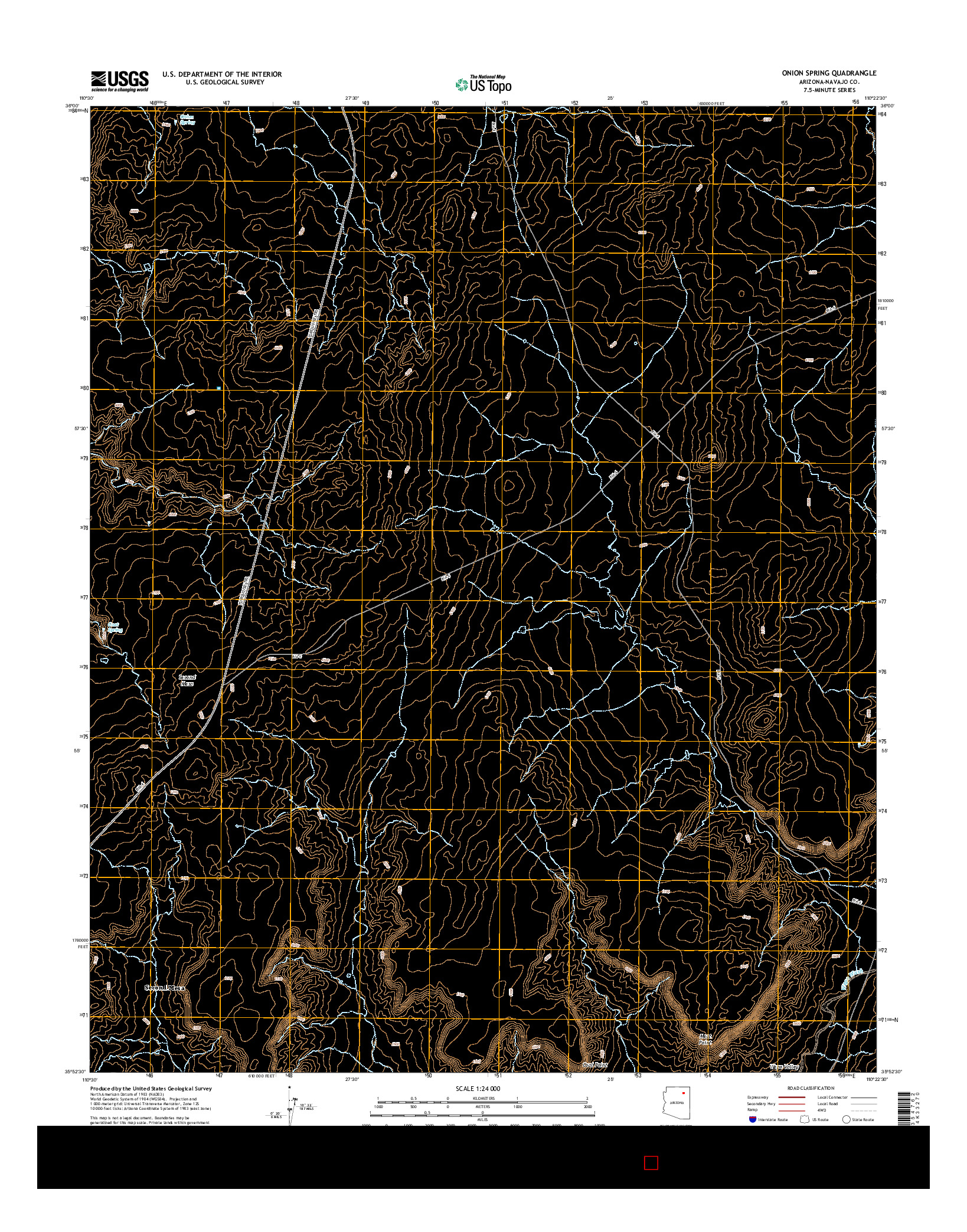 USGS US TOPO 7.5-MINUTE MAP FOR ONION SPRING, AZ 2014