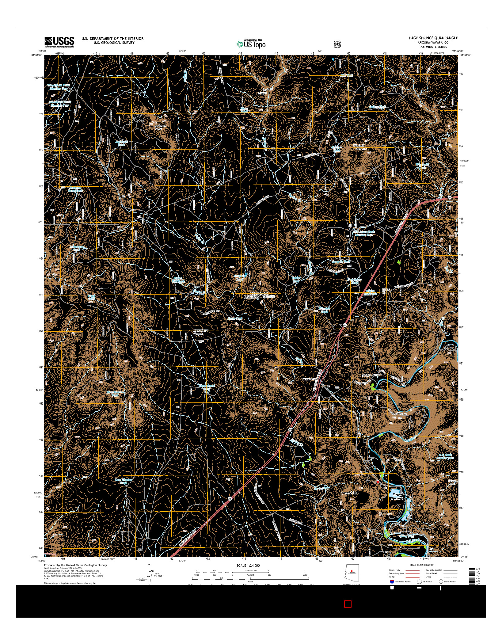 USGS US TOPO 7.5-MINUTE MAP FOR PAGE SPRINGS, AZ 2014