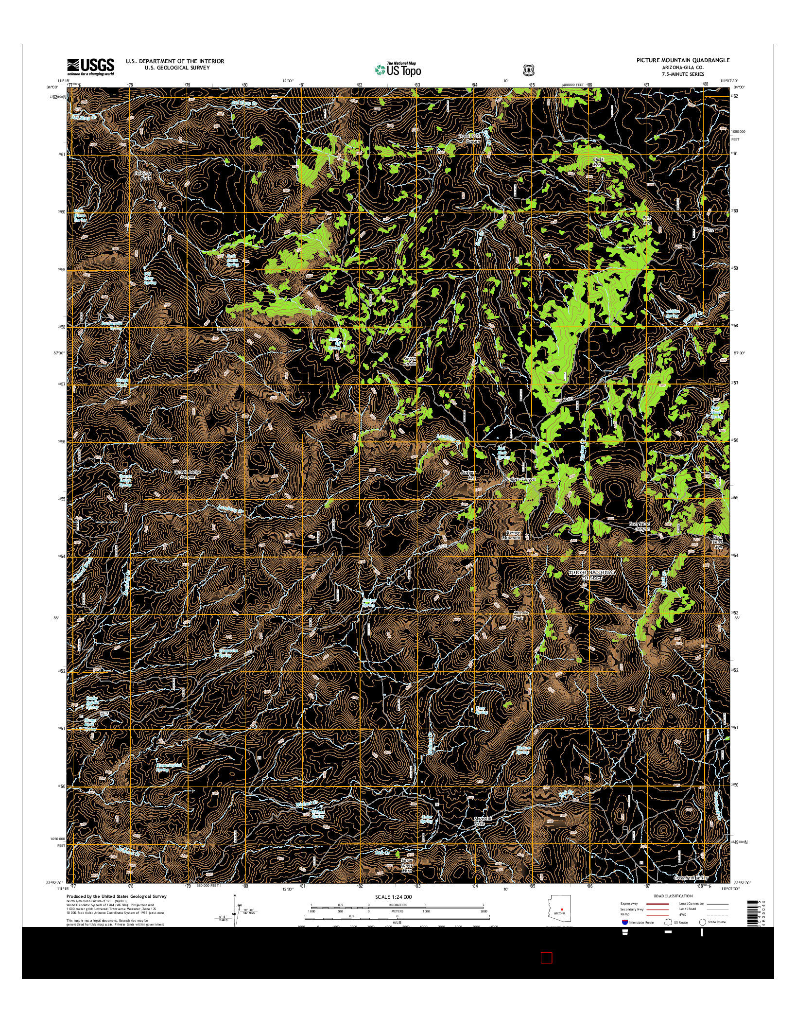 USGS US TOPO 7.5-MINUTE MAP FOR PICTURE MOUNTAIN, AZ 2014