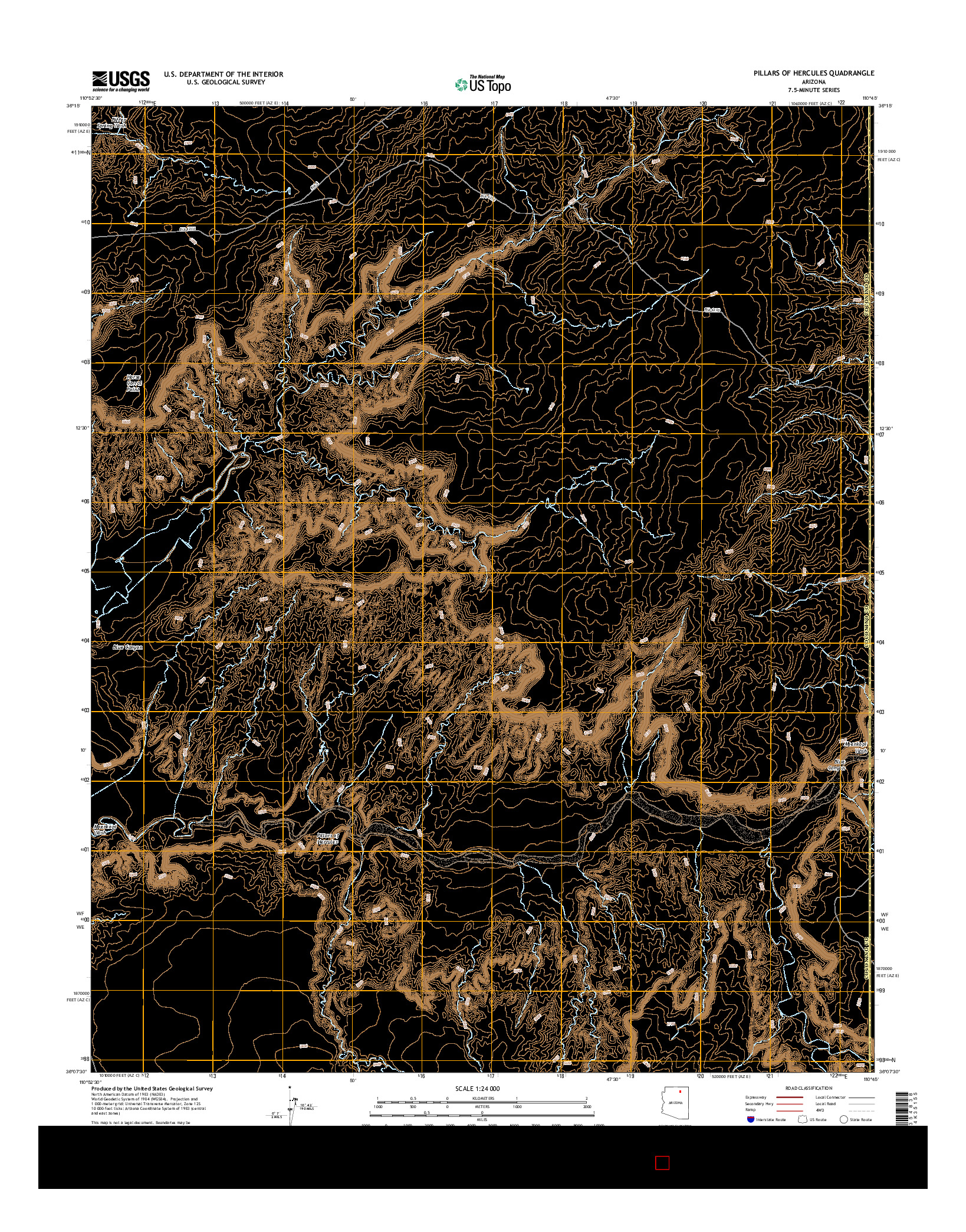 USGS US TOPO 7.5-MINUTE MAP FOR PILLARS OF HERCULES, AZ 2014