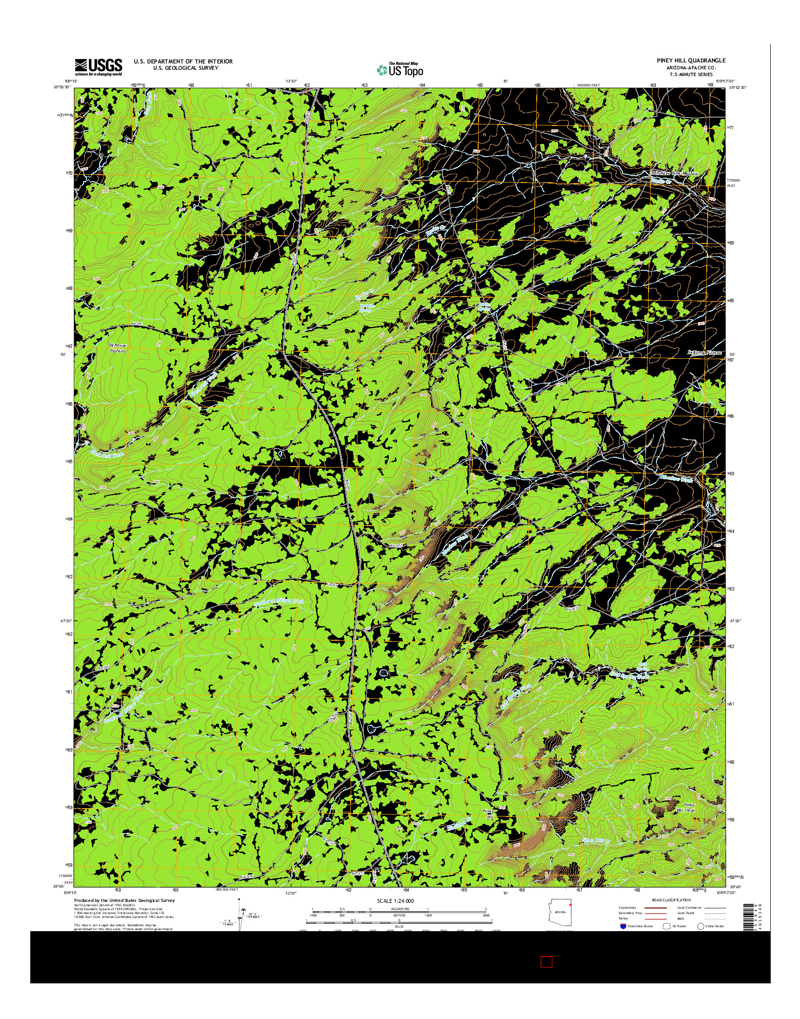 USGS US TOPO 7.5-MINUTE MAP FOR PINEY HILL, AZ 2014