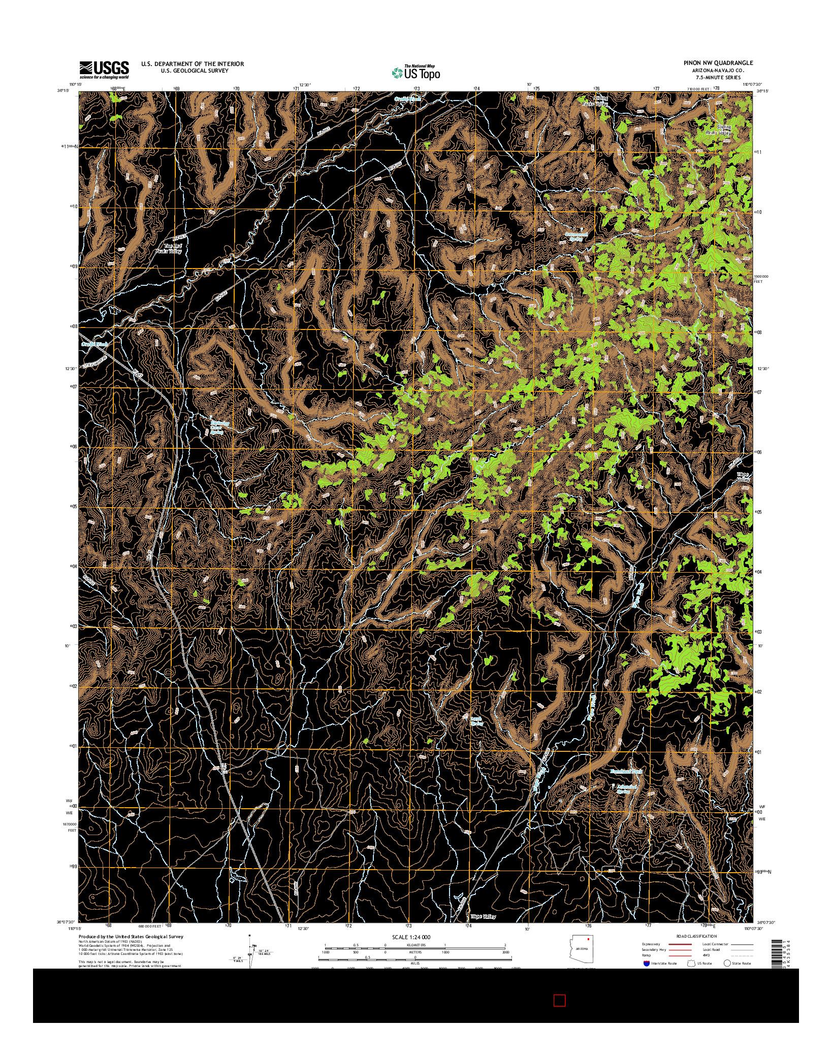 USGS US TOPO 7.5-MINUTE MAP FOR PINON NW, AZ 2014