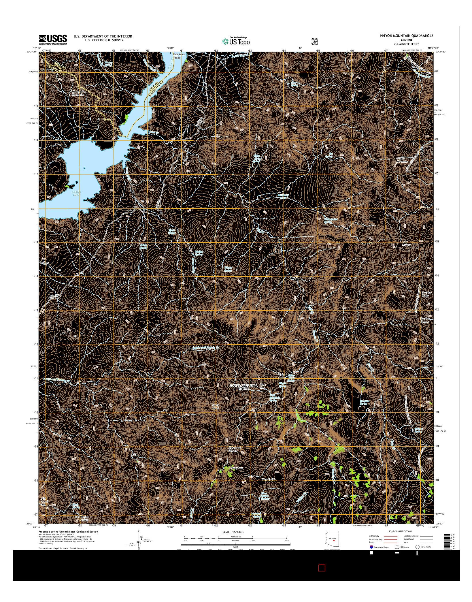 USGS US TOPO 7.5-MINUTE MAP FOR PINYON MOUNTAIN, AZ 2014