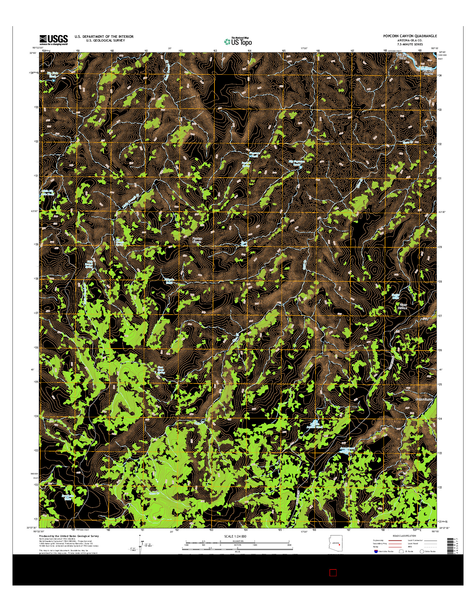 USGS US TOPO 7.5-MINUTE MAP FOR POPCORN CANYON, AZ 2014